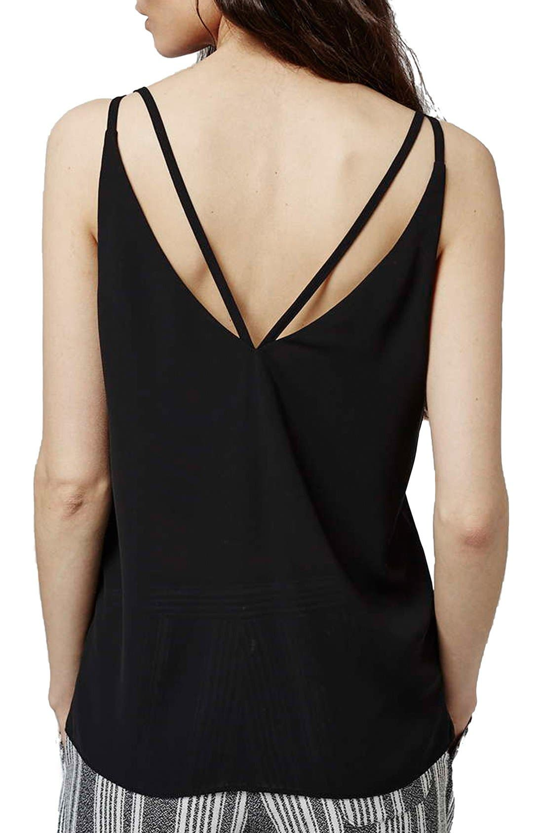 TOPSHOP,                             Double Strap V-Back Camisole,                             Alternate thumbnail 6, color,                             001