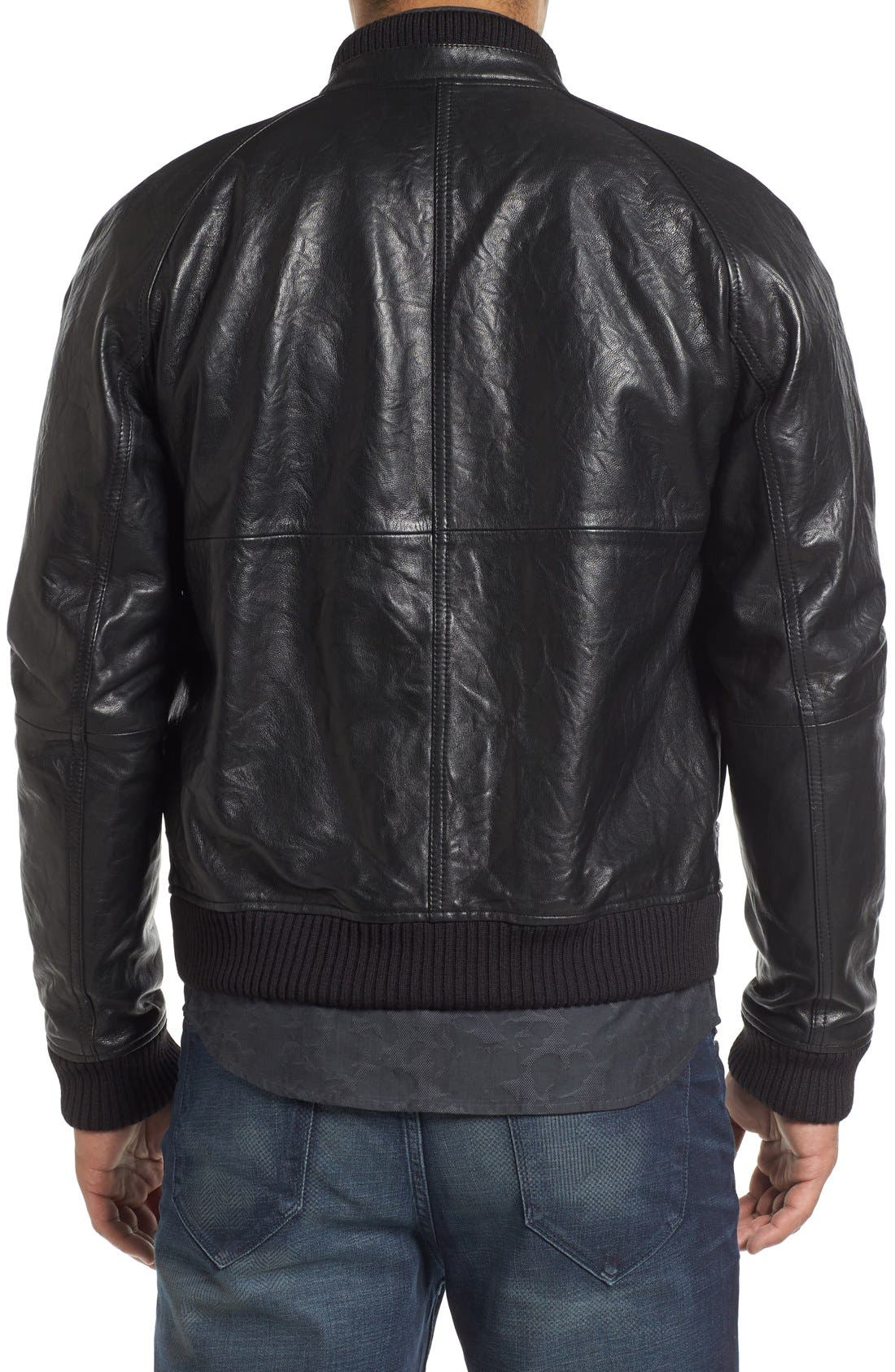 ROBERT GRAHAM,                             Romulus Goatskin Leather Jacket,                             Alternate thumbnail 2, color,                             001