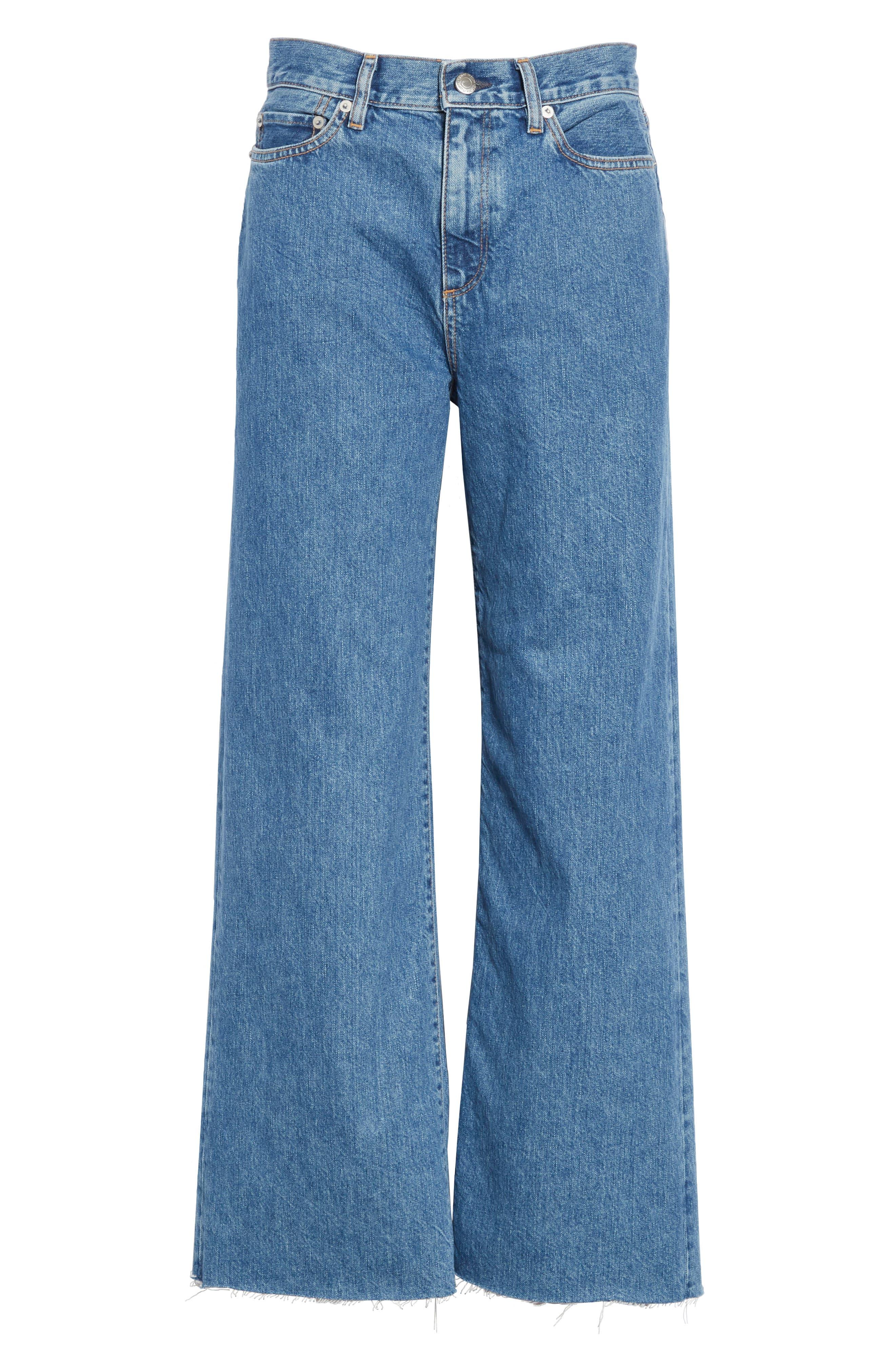 Crop Frayed Wide Leg Jeans,                             Alternate thumbnail 6, color,                             VINTAGE WASH 4
