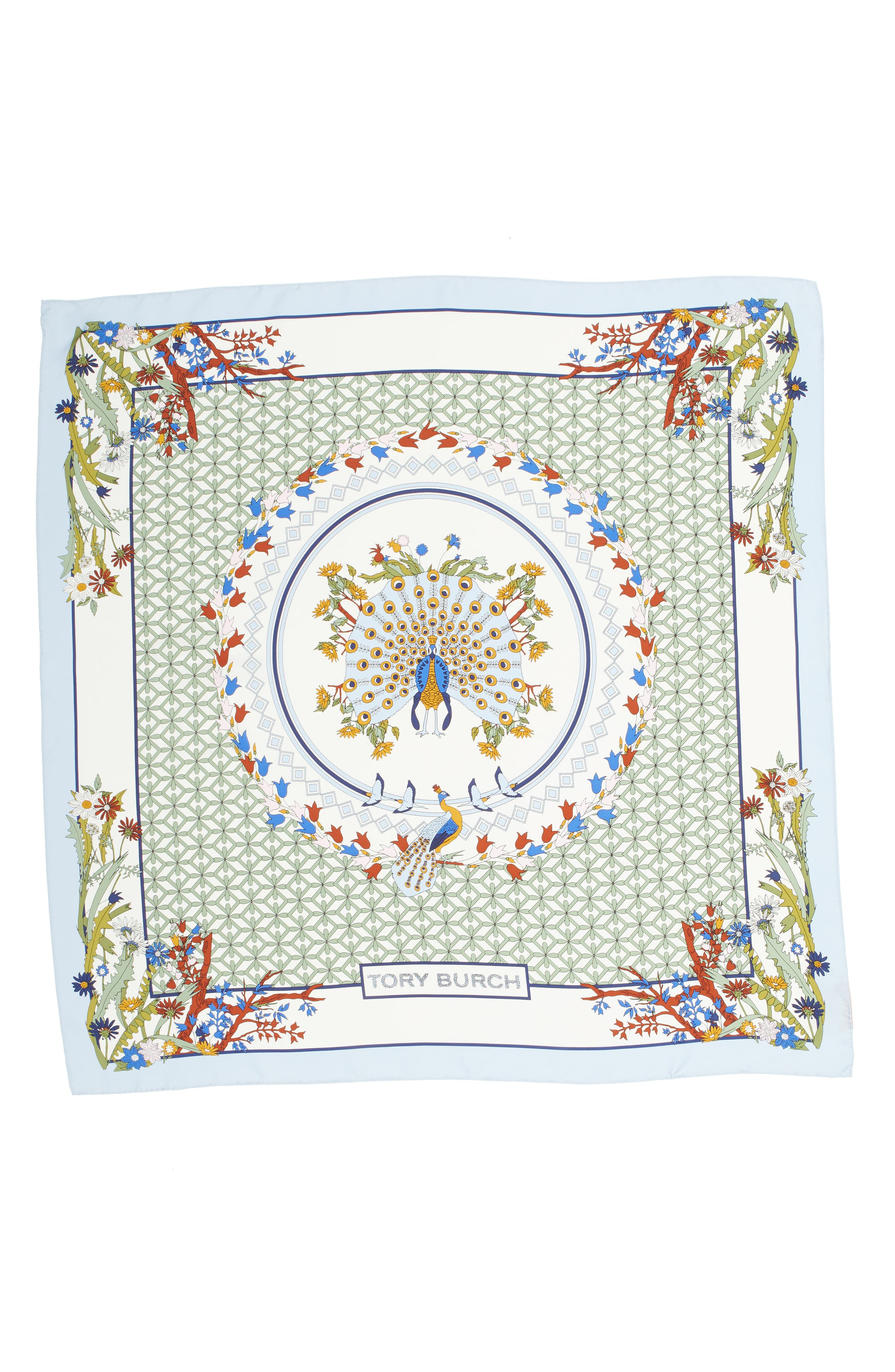 Meadow Folly Silk Square Scarf,                             Alternate thumbnail 6, color,