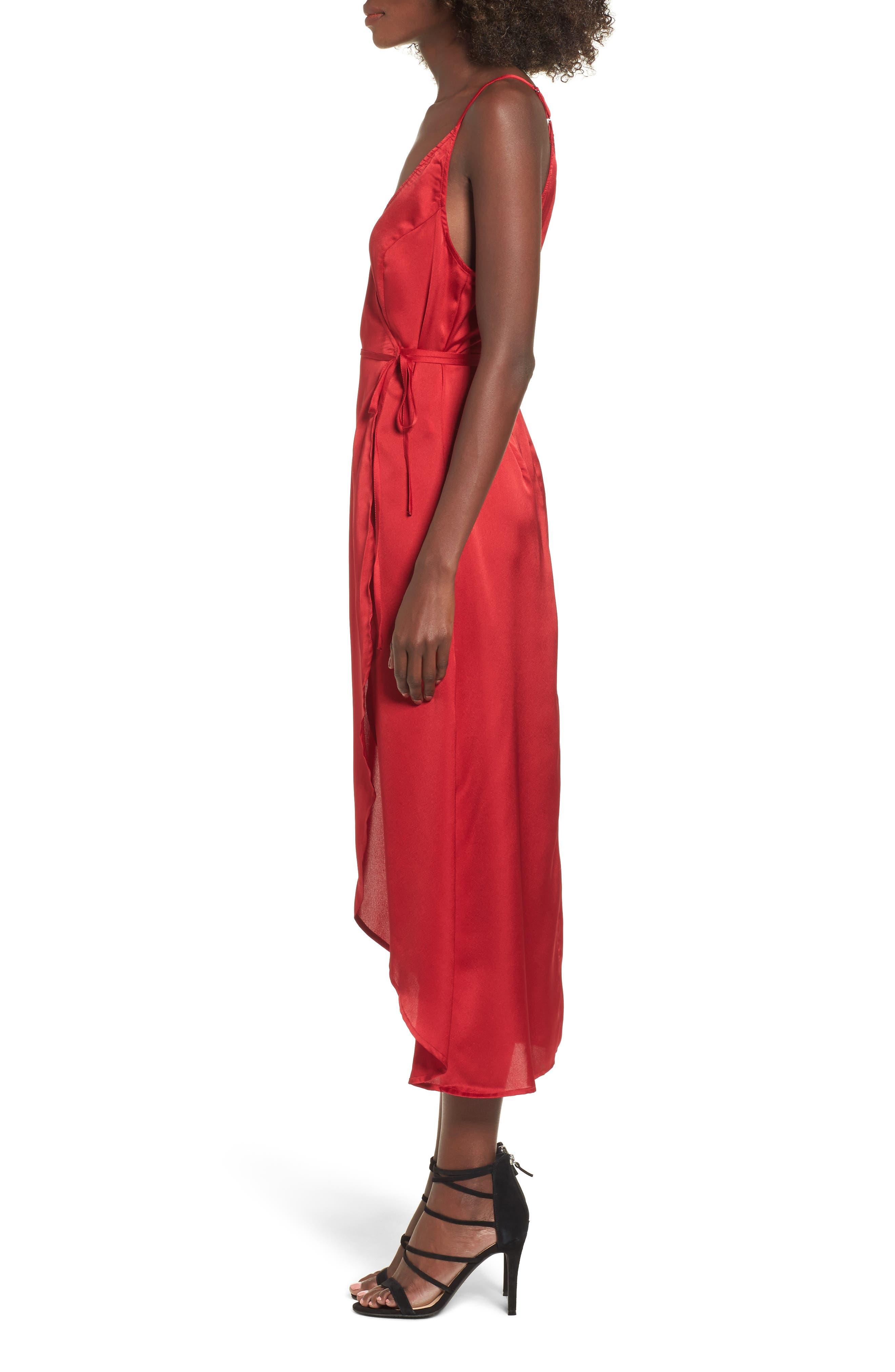 Evening Sun Satin Wrap Dress,                             Alternate thumbnail 3, color,                             600