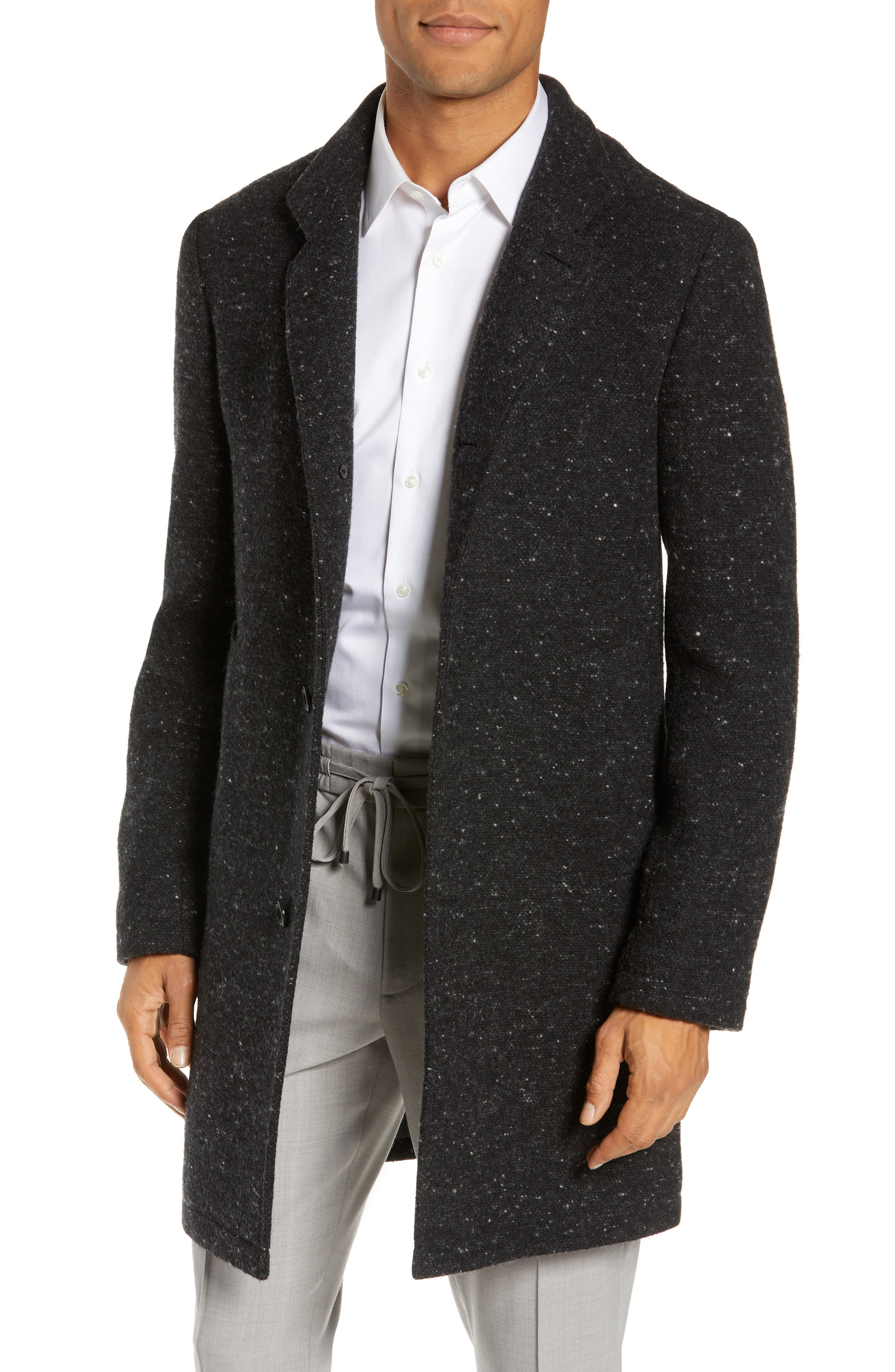 Loukas Nep Flecked Topcoat,                         Main,                         color, CHARCOAL