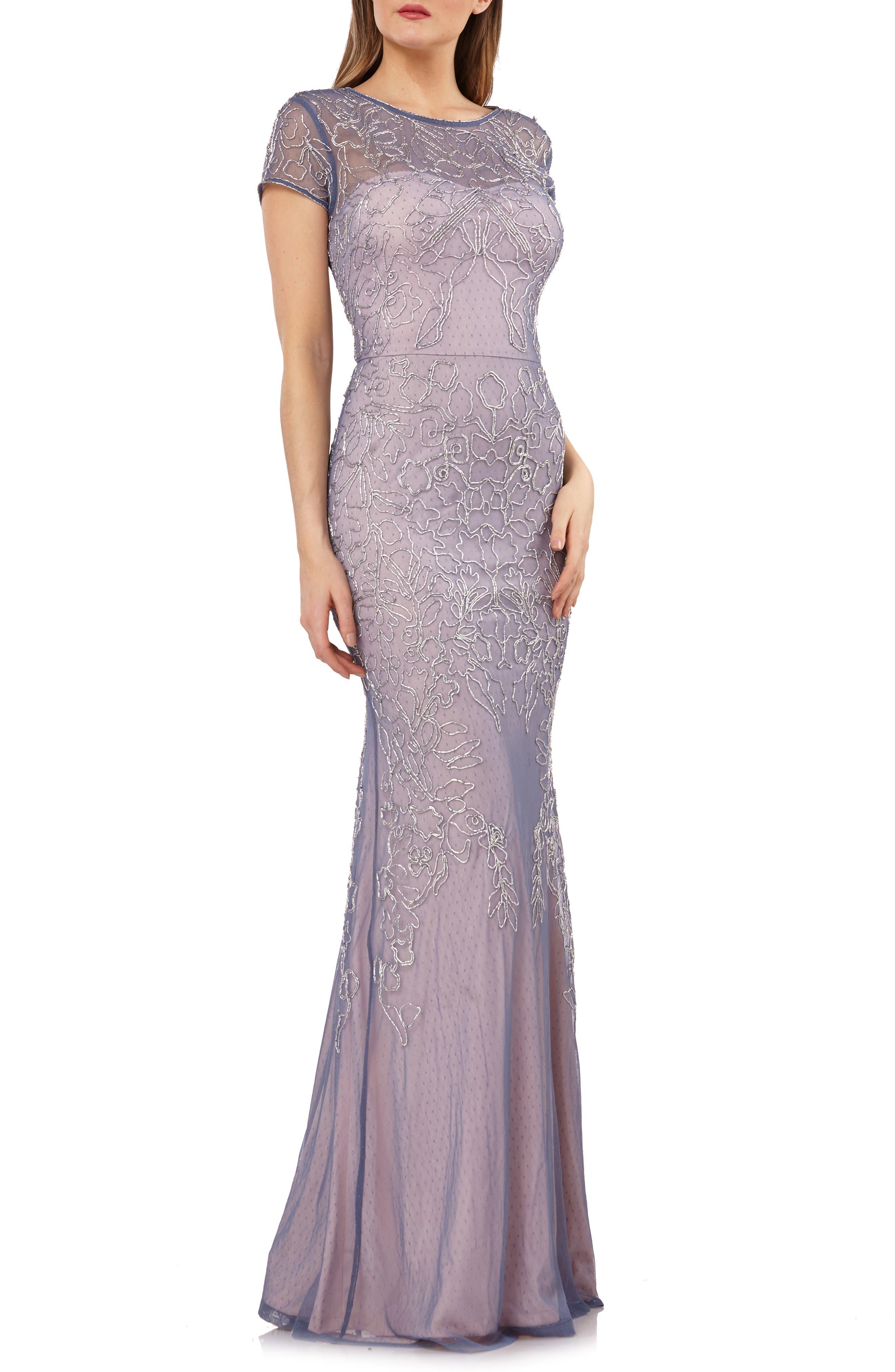 Soutache Mesh Evening Dress, Main, color, BLUE SILVER