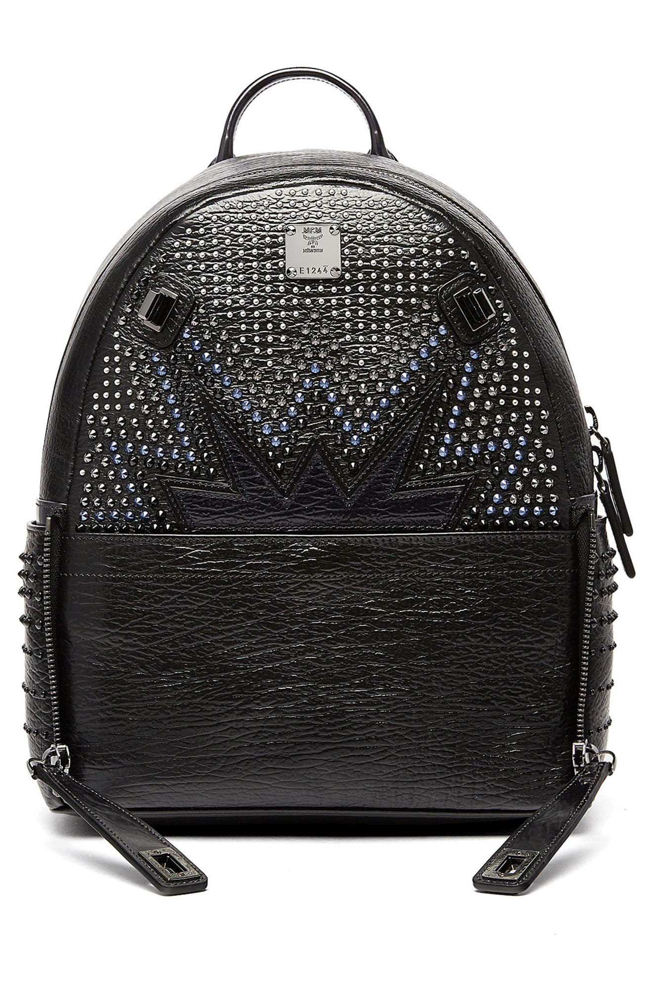 Dual Stark Studded Leather Backpack,                             Alternate thumbnail 7, color,                             001