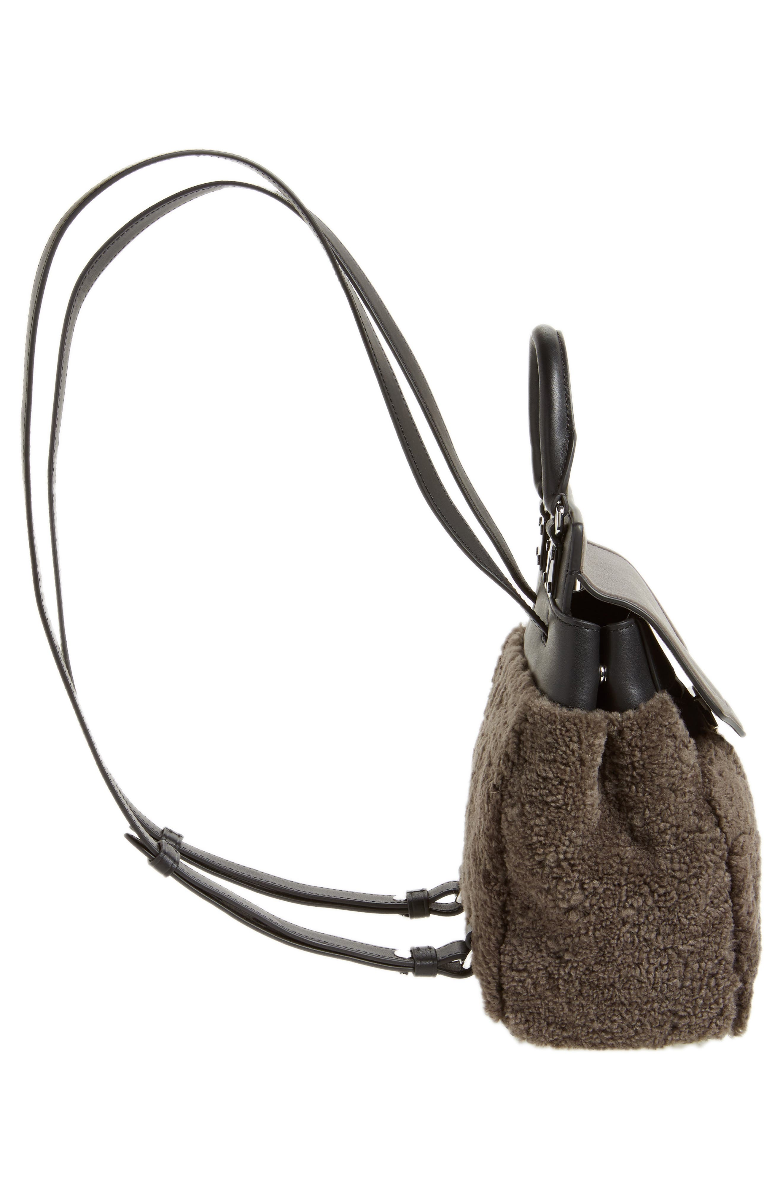 Small Pilot Leather & Genuine Shearling Backpack,                             Alternate thumbnail 5, color,                             020