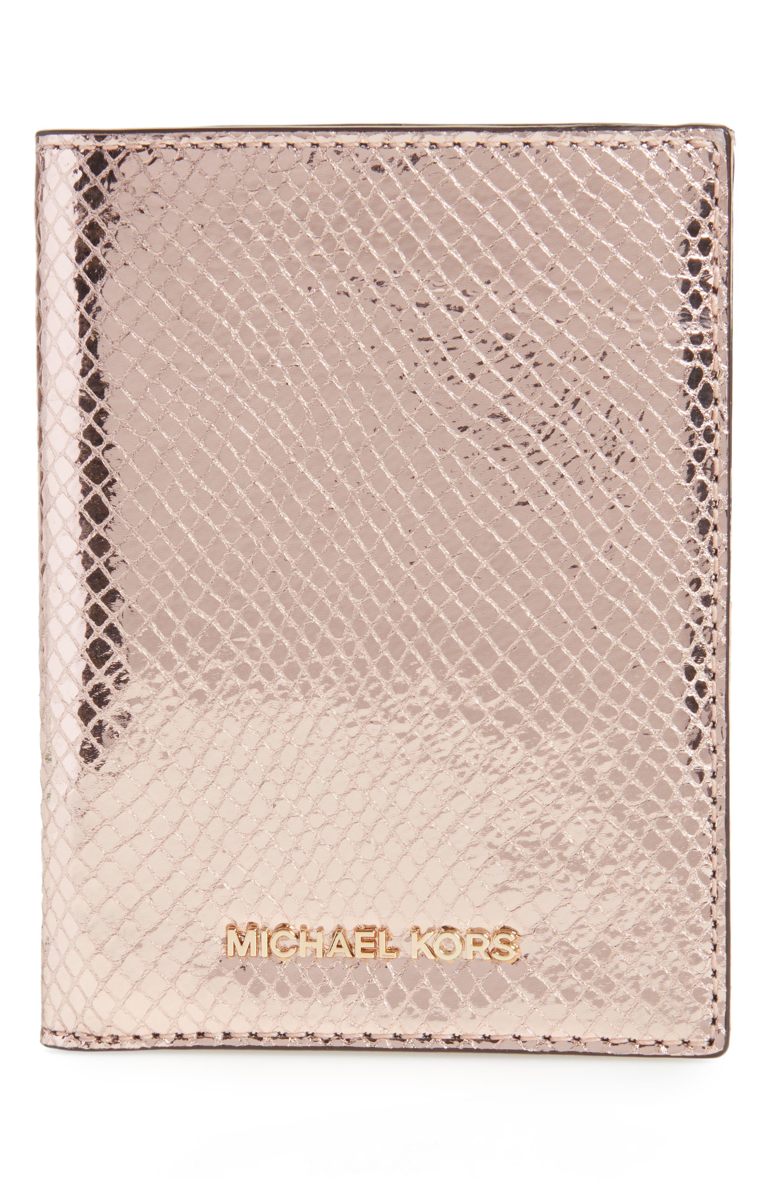 Money Pieces Leather Passport Wallet,                             Main thumbnail 2, color,