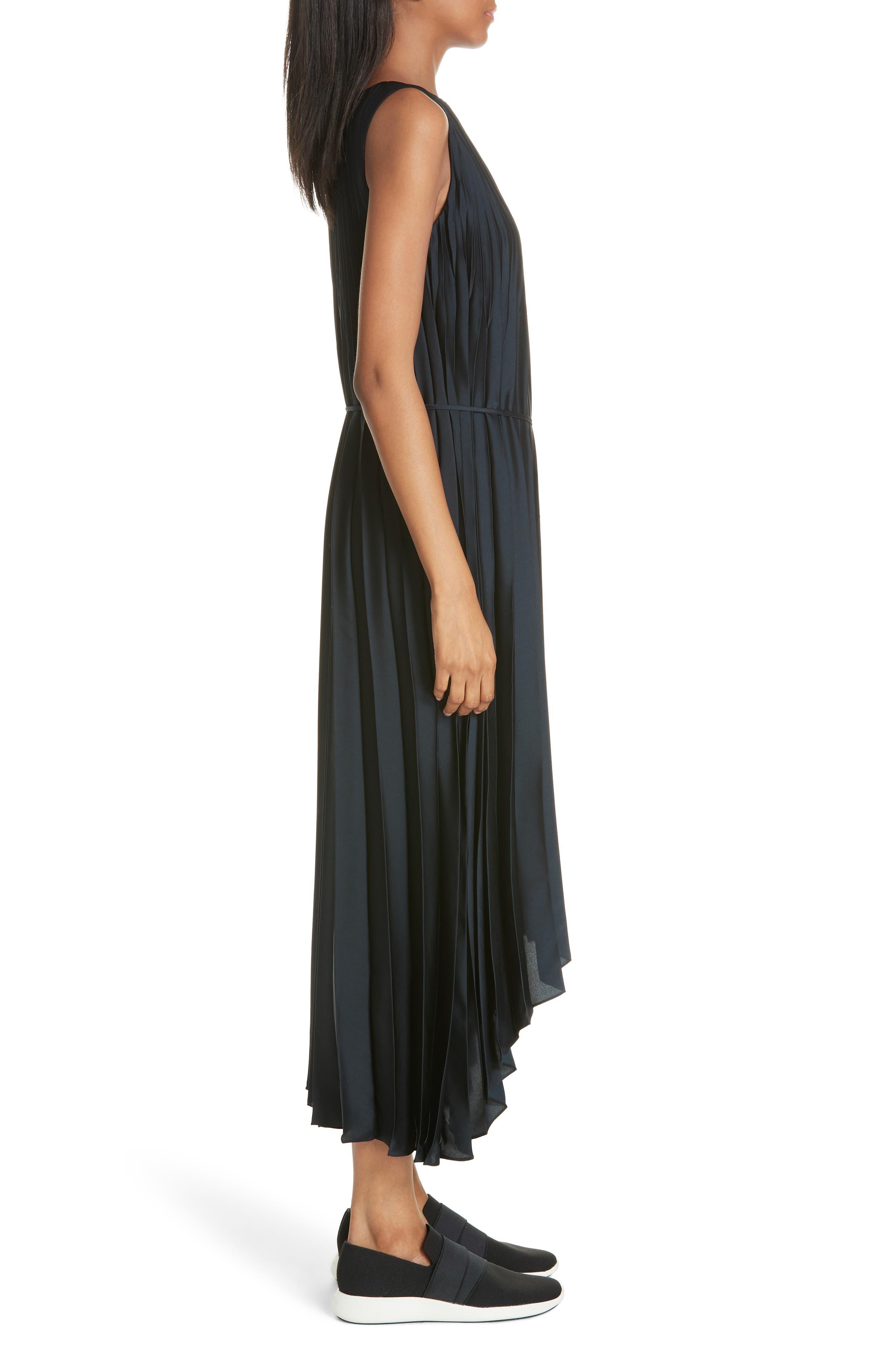 Chevron Pleat Midi Dress,                             Alternate thumbnail 3, color,                             COASTAL