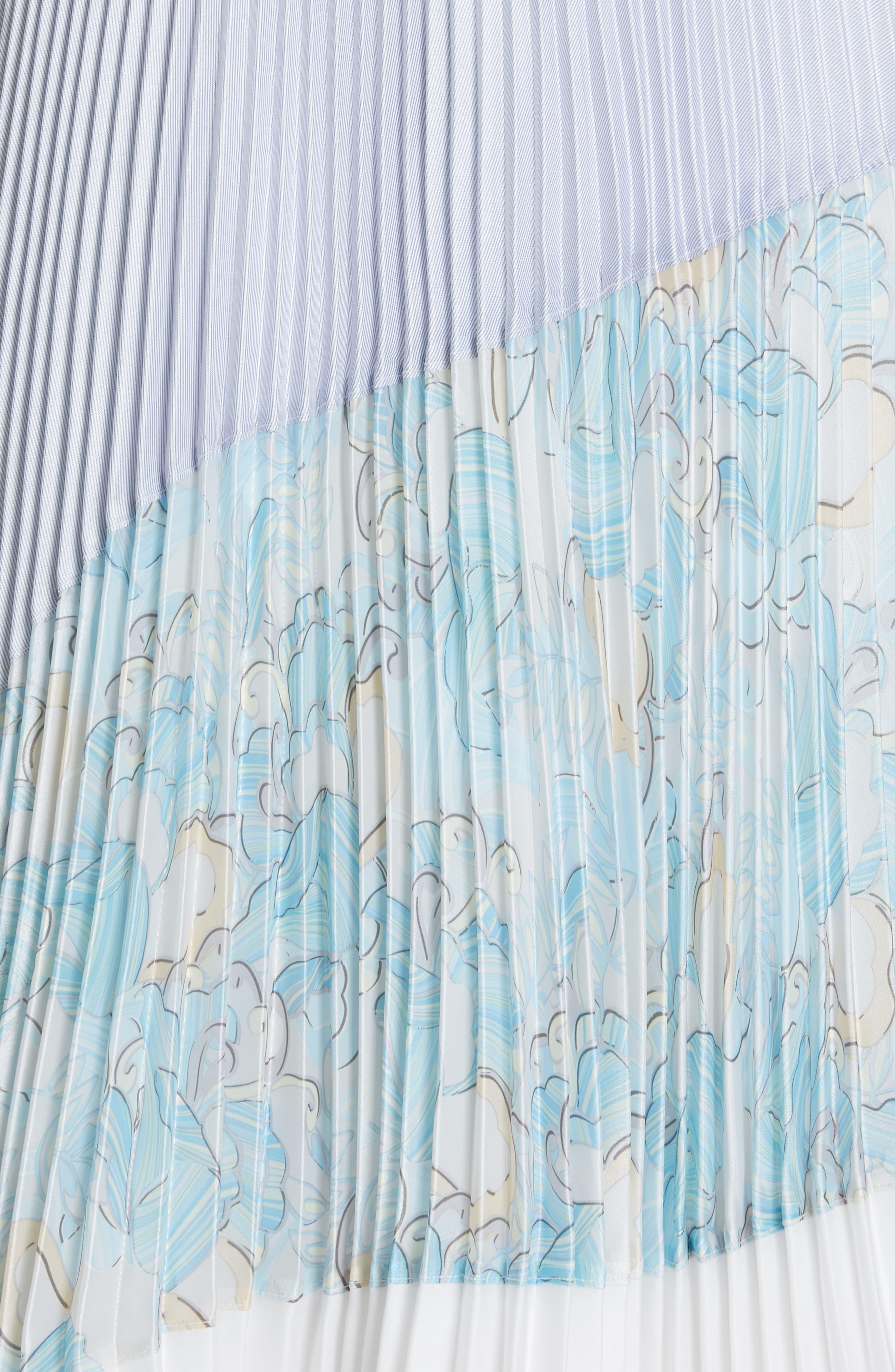 Floral Colorblock Pleated Skirt,                             Alternate thumbnail 5, color,                             BLUE