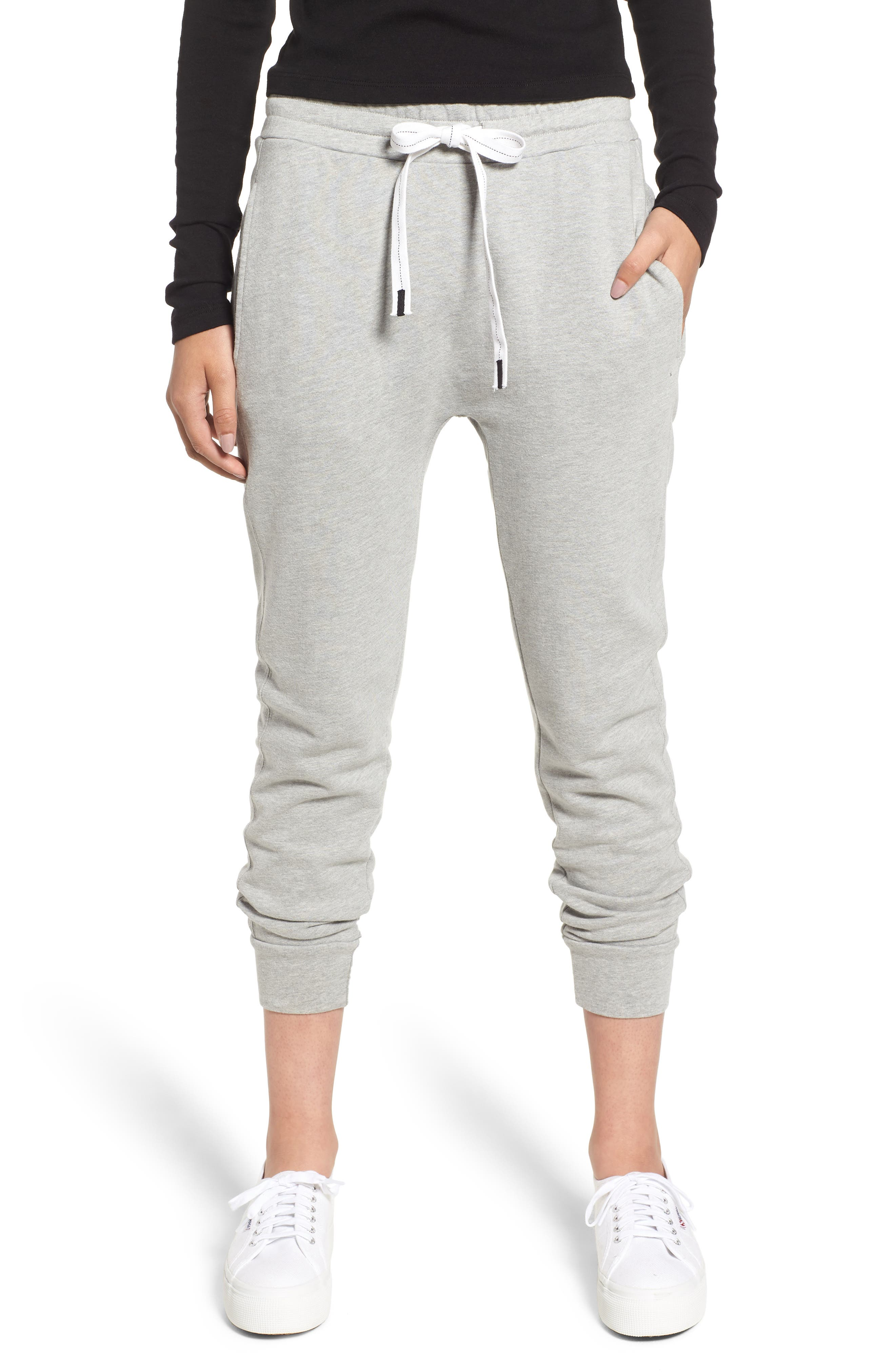French Terry Joggers,                         Main,                         color, HEATHER GREY