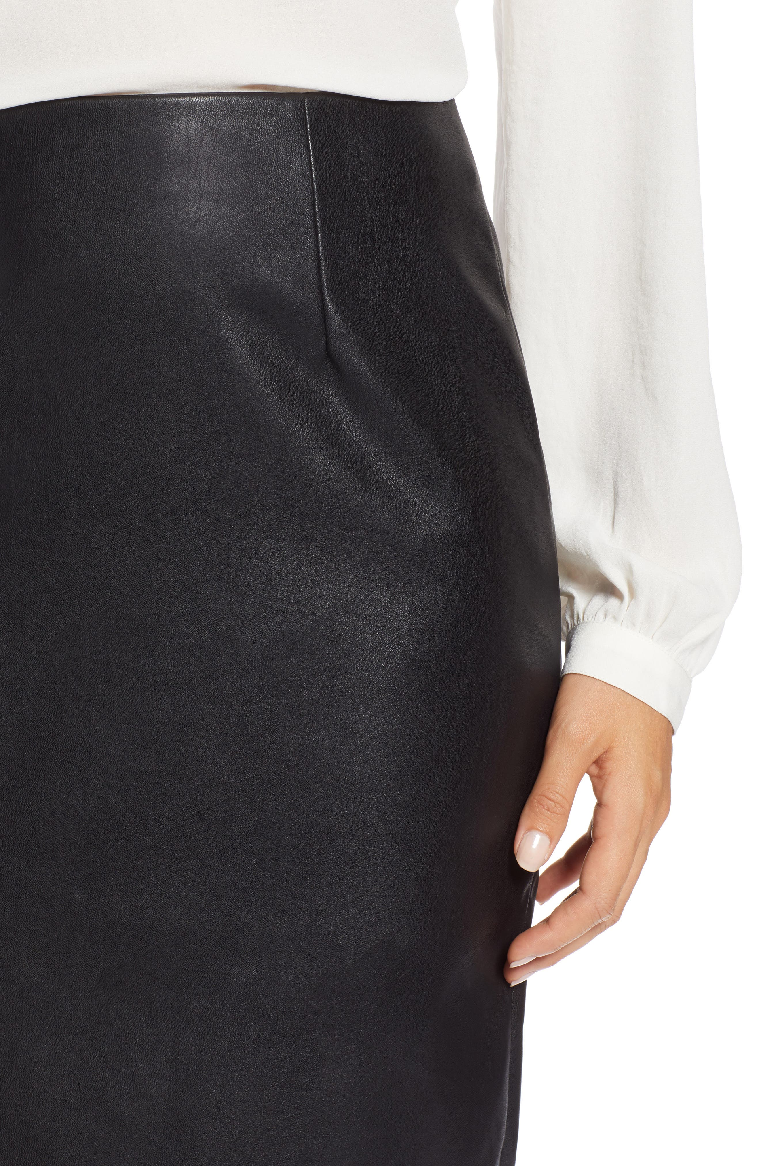 Faux Leather Pencil Skirt,                             Alternate thumbnail 4, color,                             BLACK