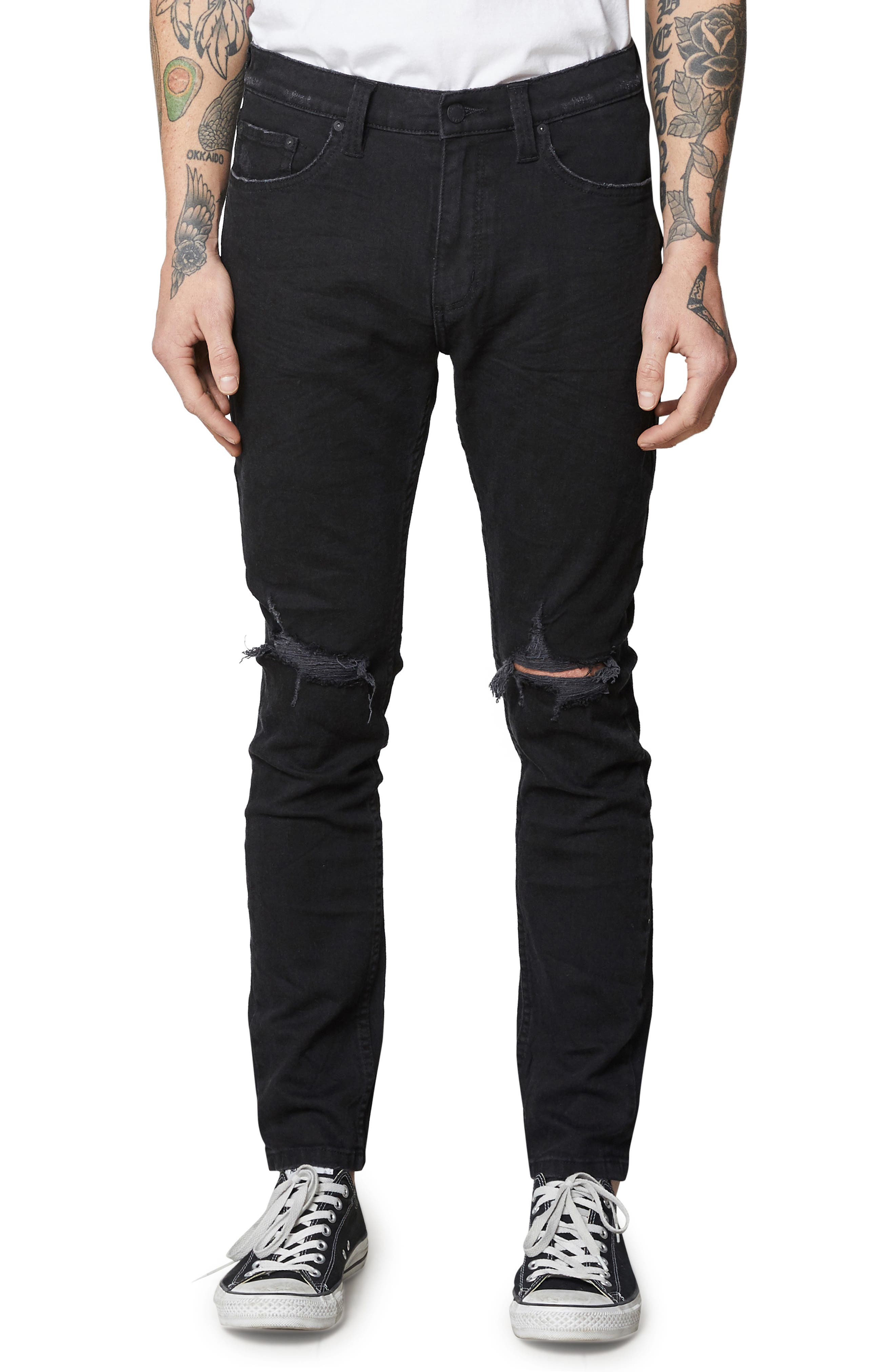 Stinger Skinny Fit Jeans,                             Main thumbnail 1, color,                             BLACK RIP