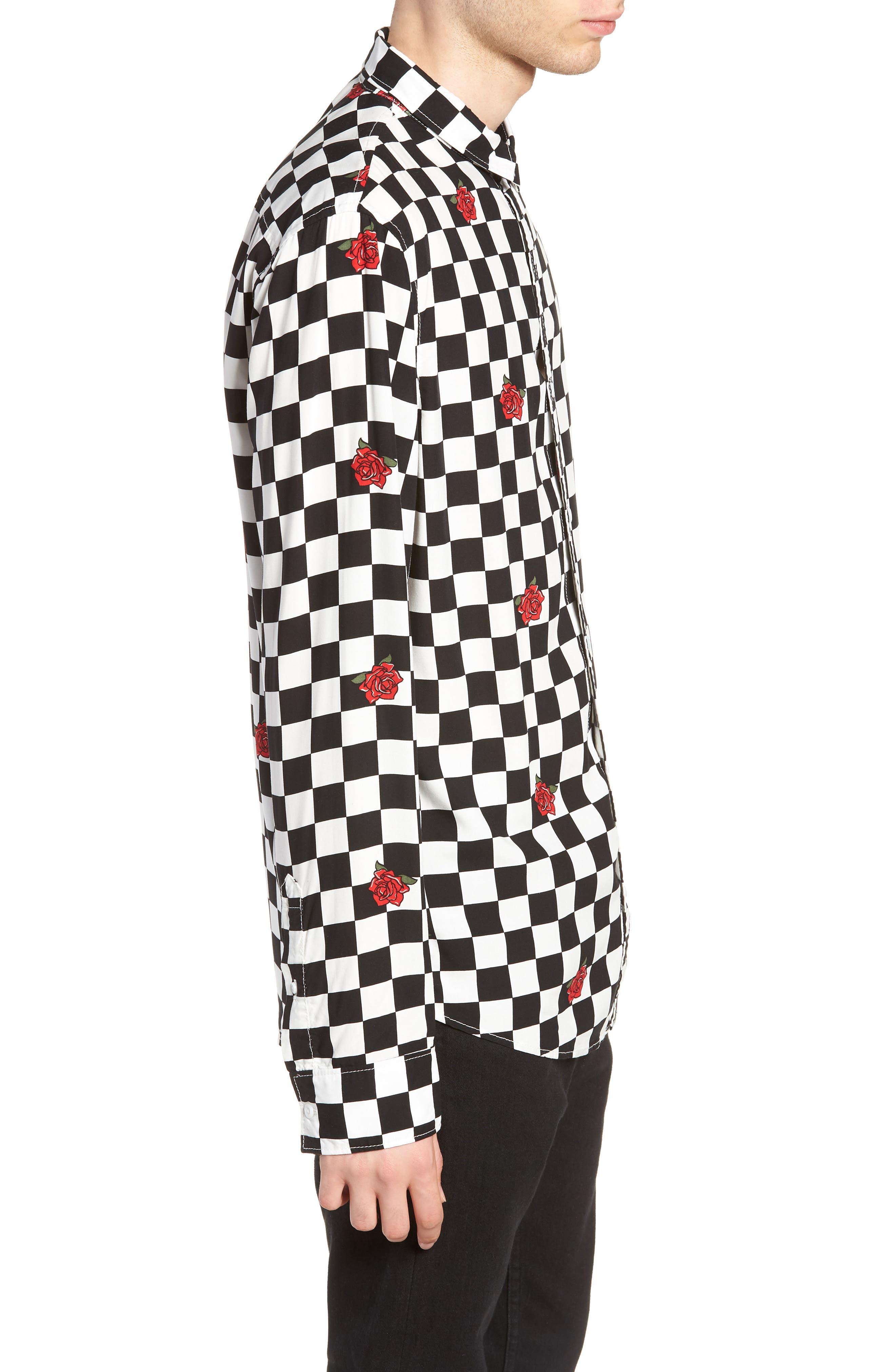 Checkerboard Rose Print Woven Shirt,                             Alternate thumbnail 3, color,                             001