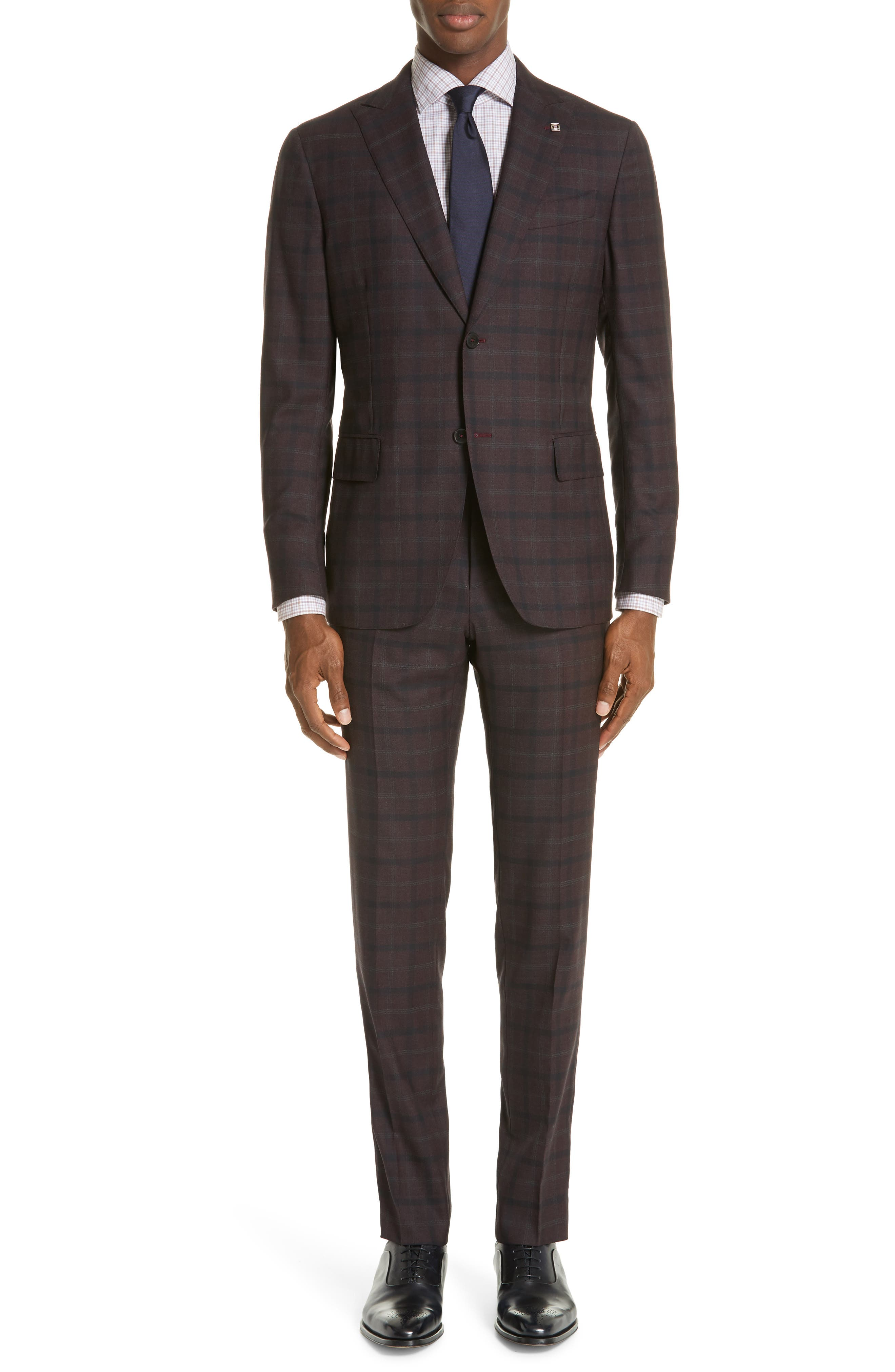EIDOS Delaine Trim Fit Plaid Wool Suit in Burgundy