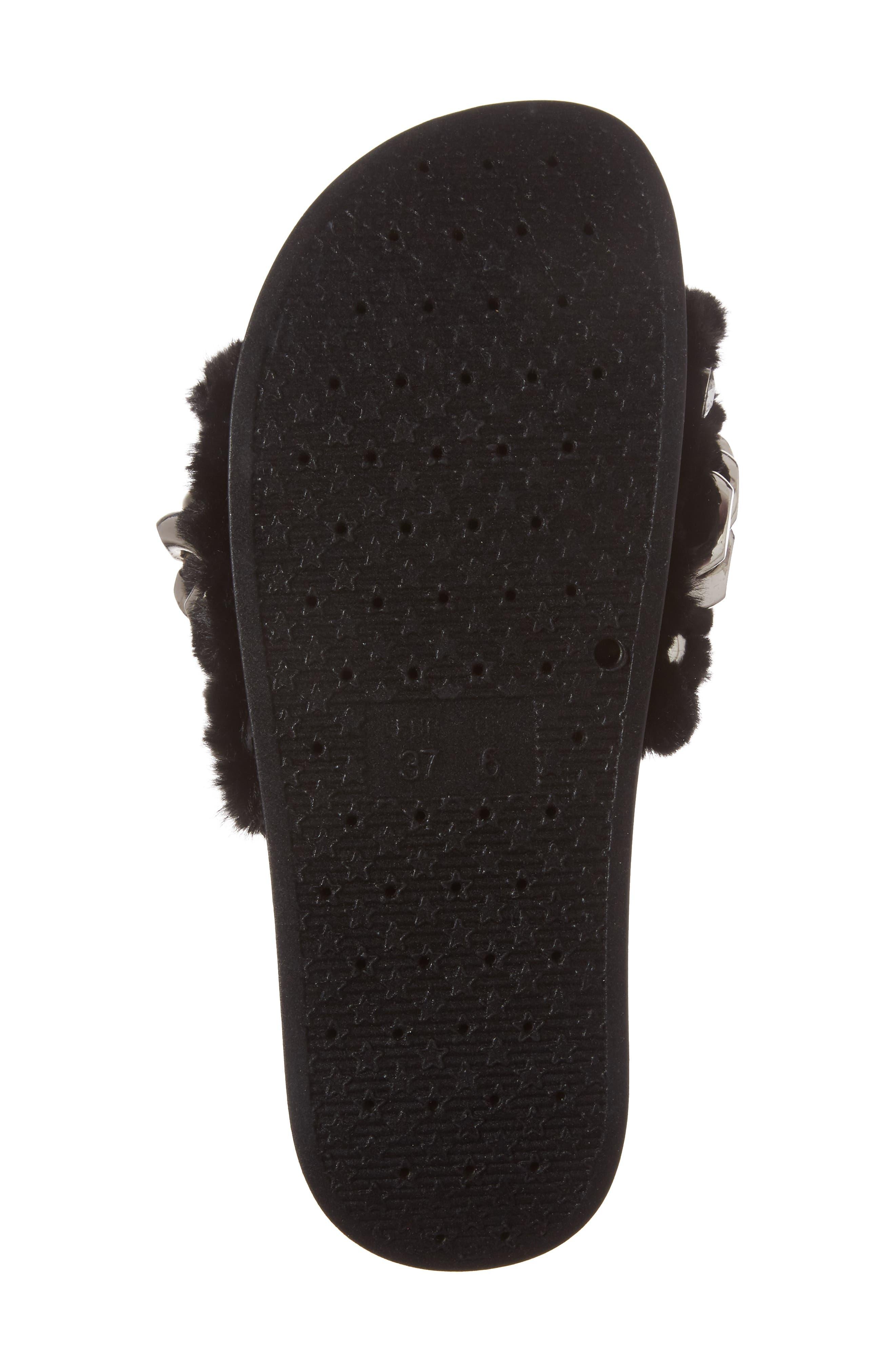 Edie Faux Fur Slide Sandal,                             Alternate thumbnail 6, color,                             007