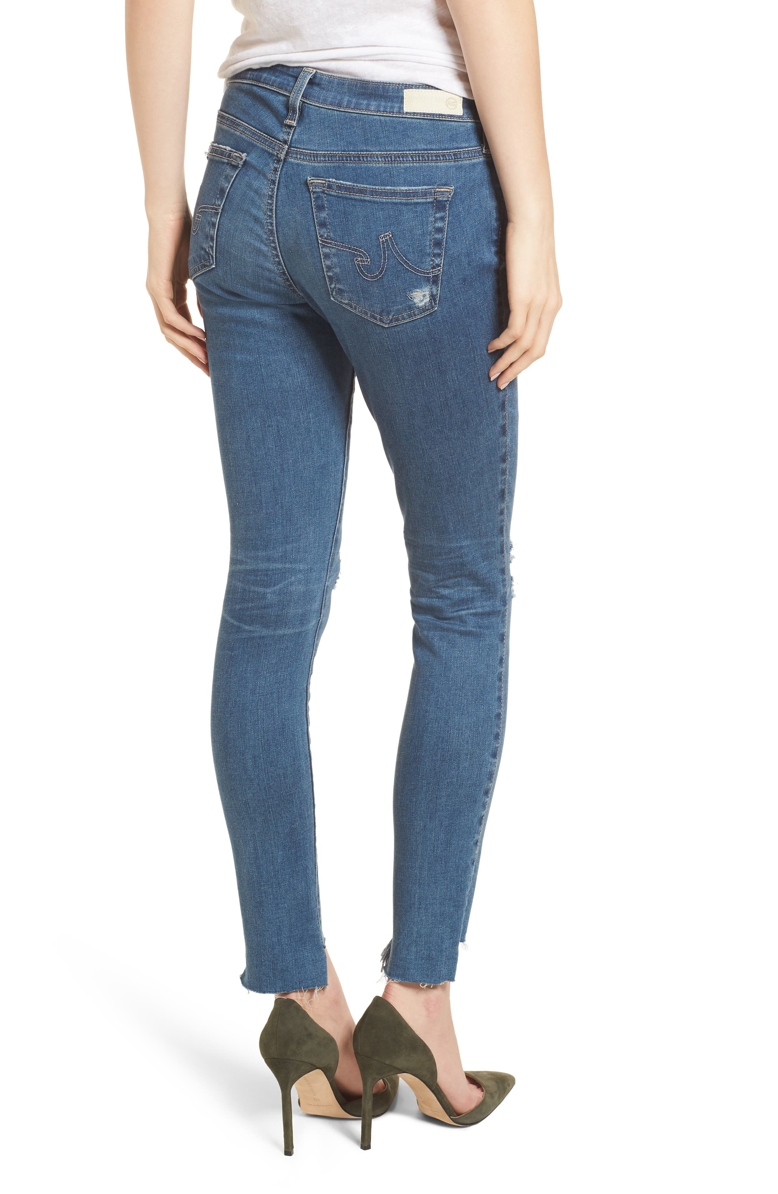 The Legging Raw Step Hem Ankle Skinny Jeans,                             Alternate thumbnail 2, color,                             400