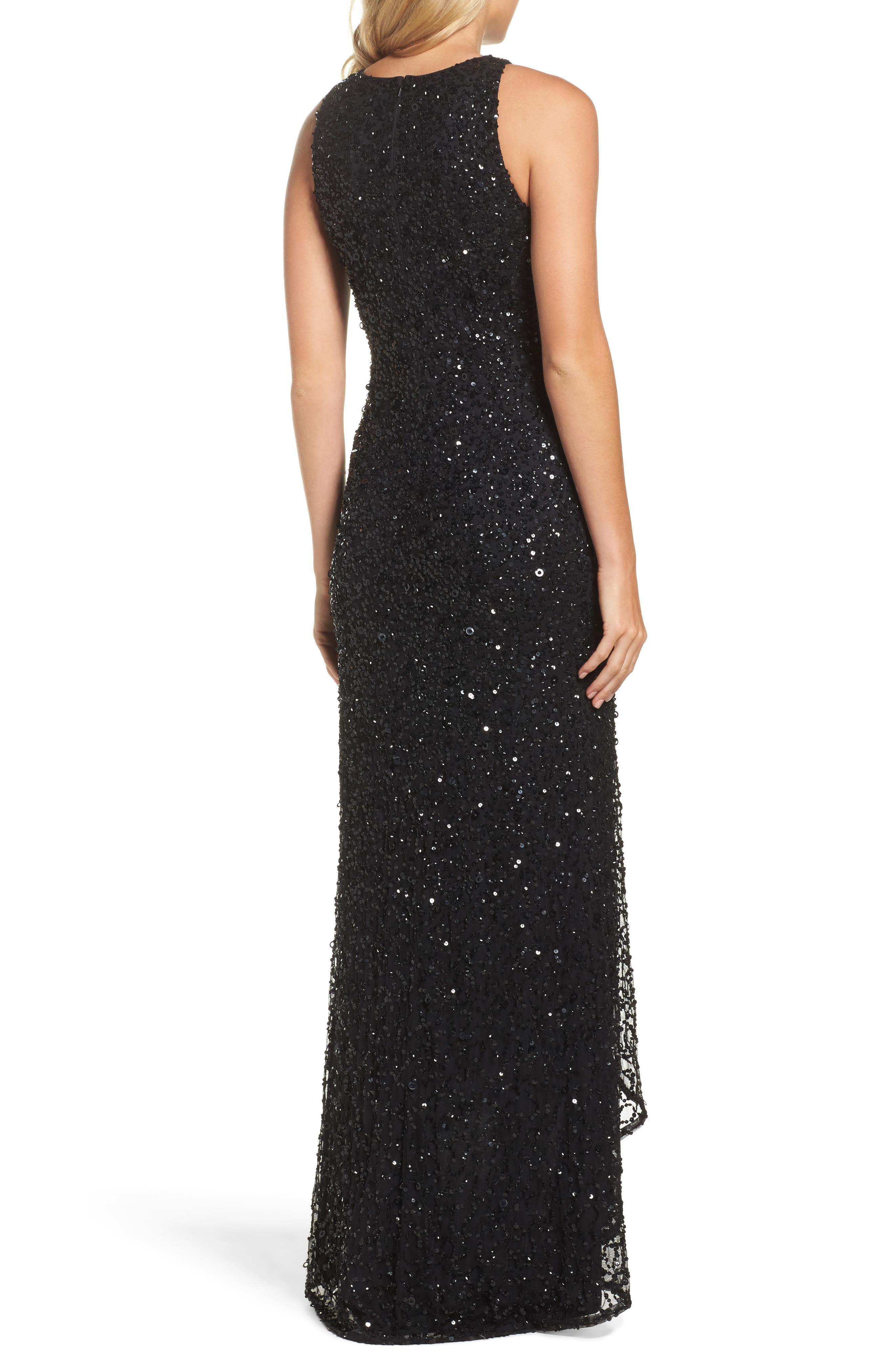 Sequin High/Low Gown,                             Alternate thumbnail 2, color,                             002