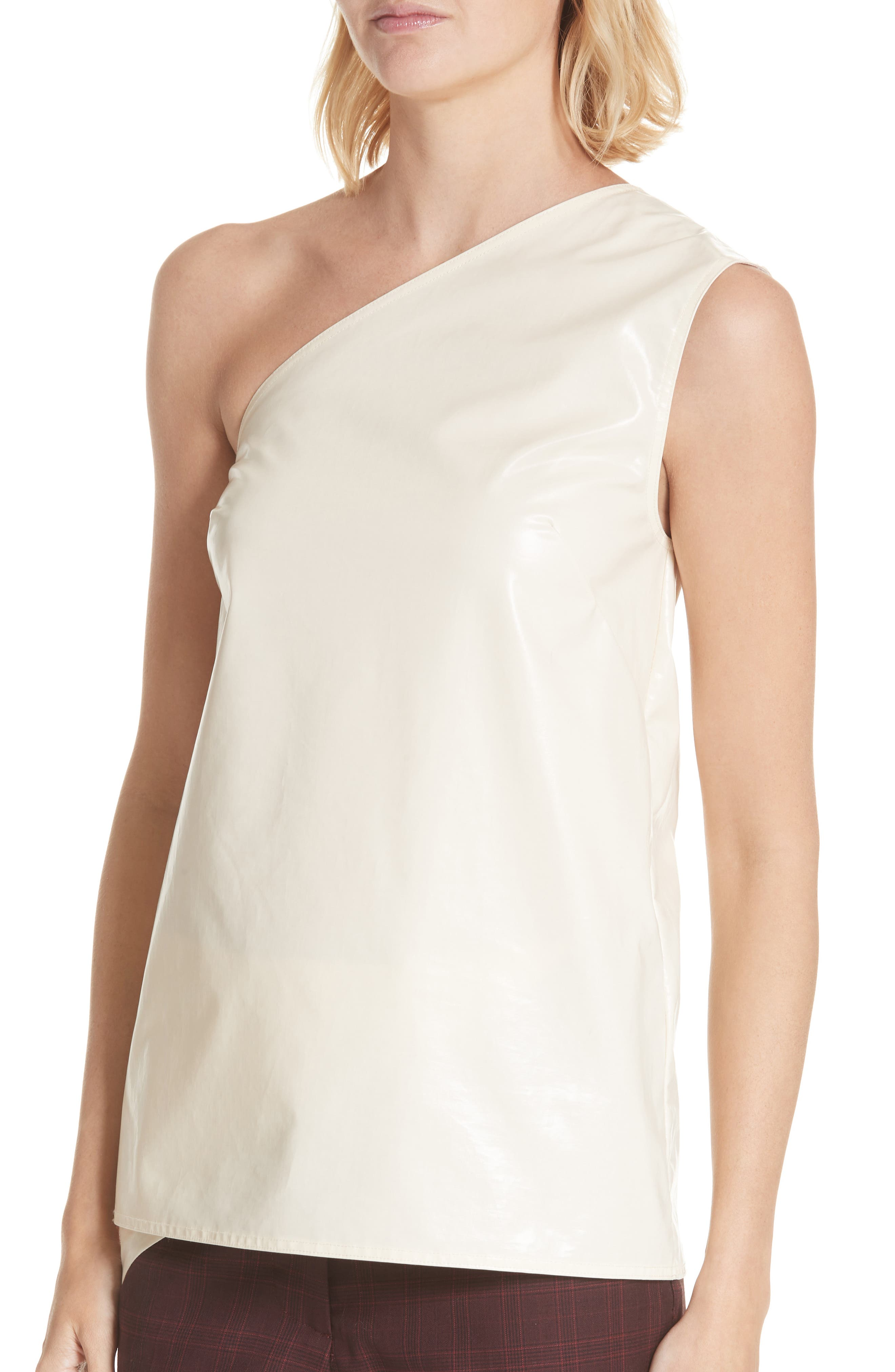 Coated Cotton Asymmetrical Top,                             Alternate thumbnail 4, color,                             CREME