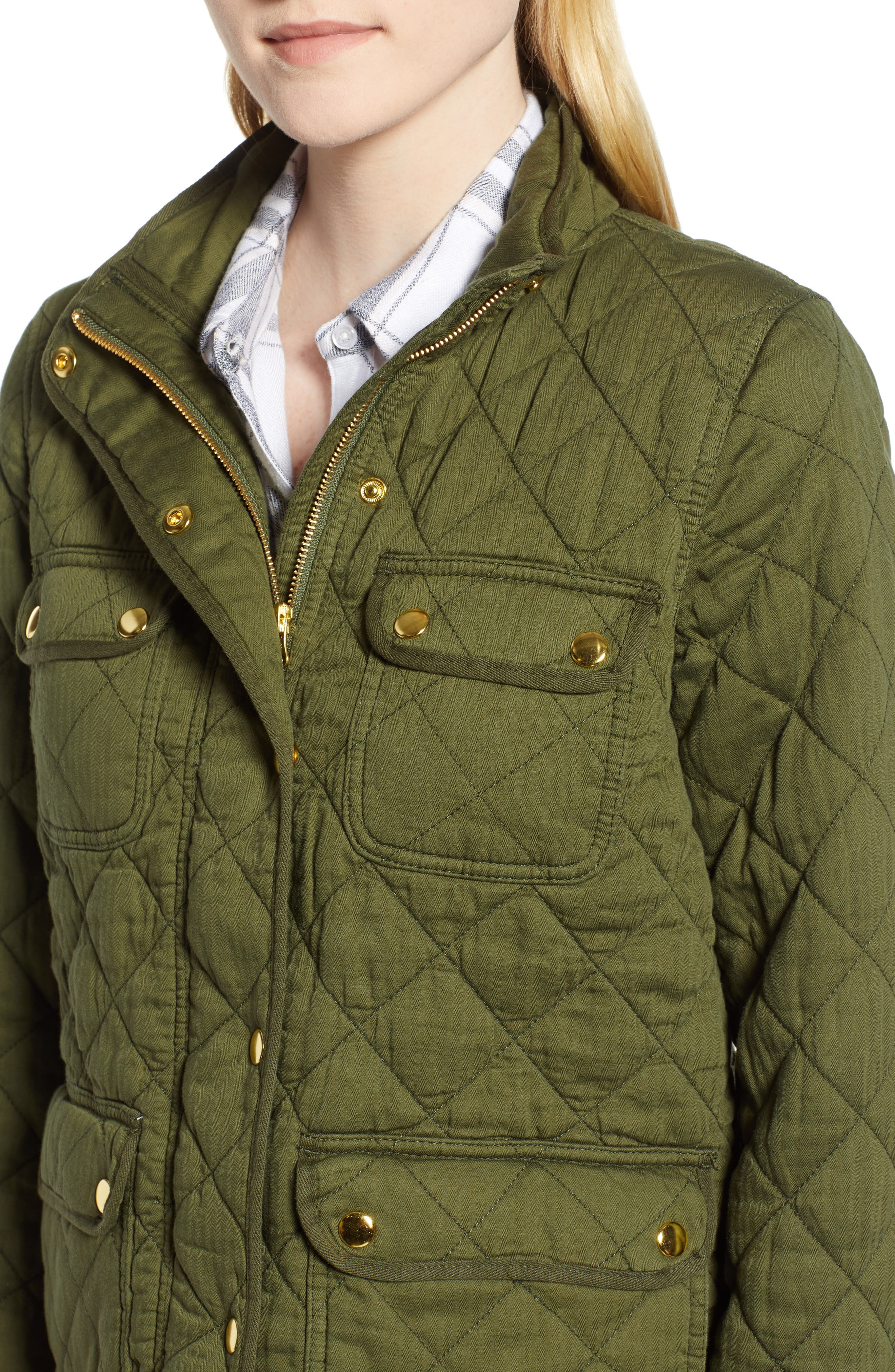 Quilted Downtown Field Jacket,                             Alternate thumbnail 4, color,                             DEEP MOSS