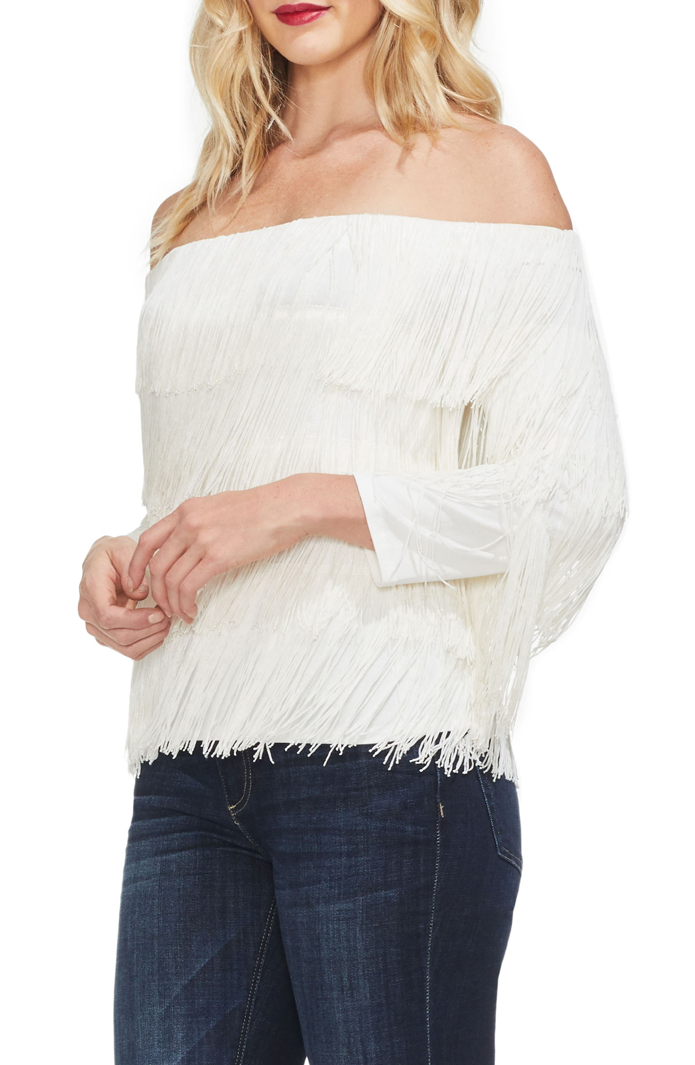 Tiered Fringe Top,                             Alternate thumbnail 3, color,                             PEARL IVORY