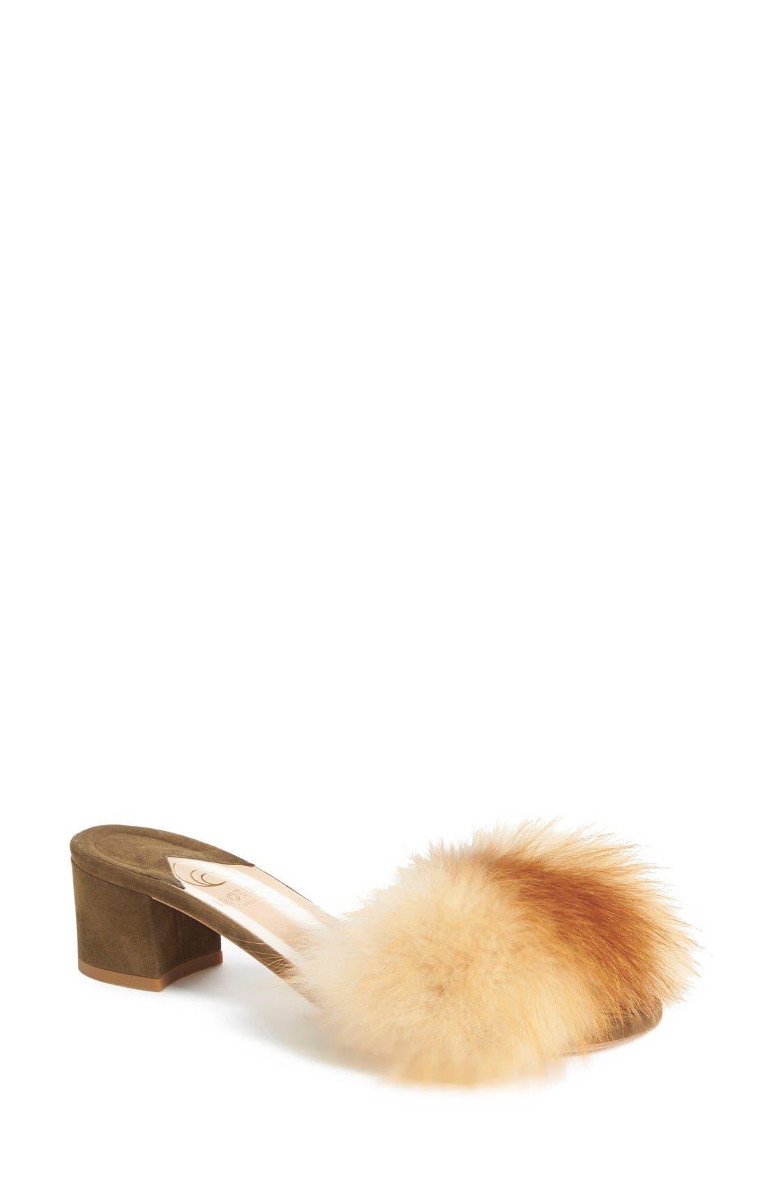 BROTHER VELLIES,                             'Tufted' Genuine Fox Fur Slide Sandal,                             Main thumbnail 1, color,                             230