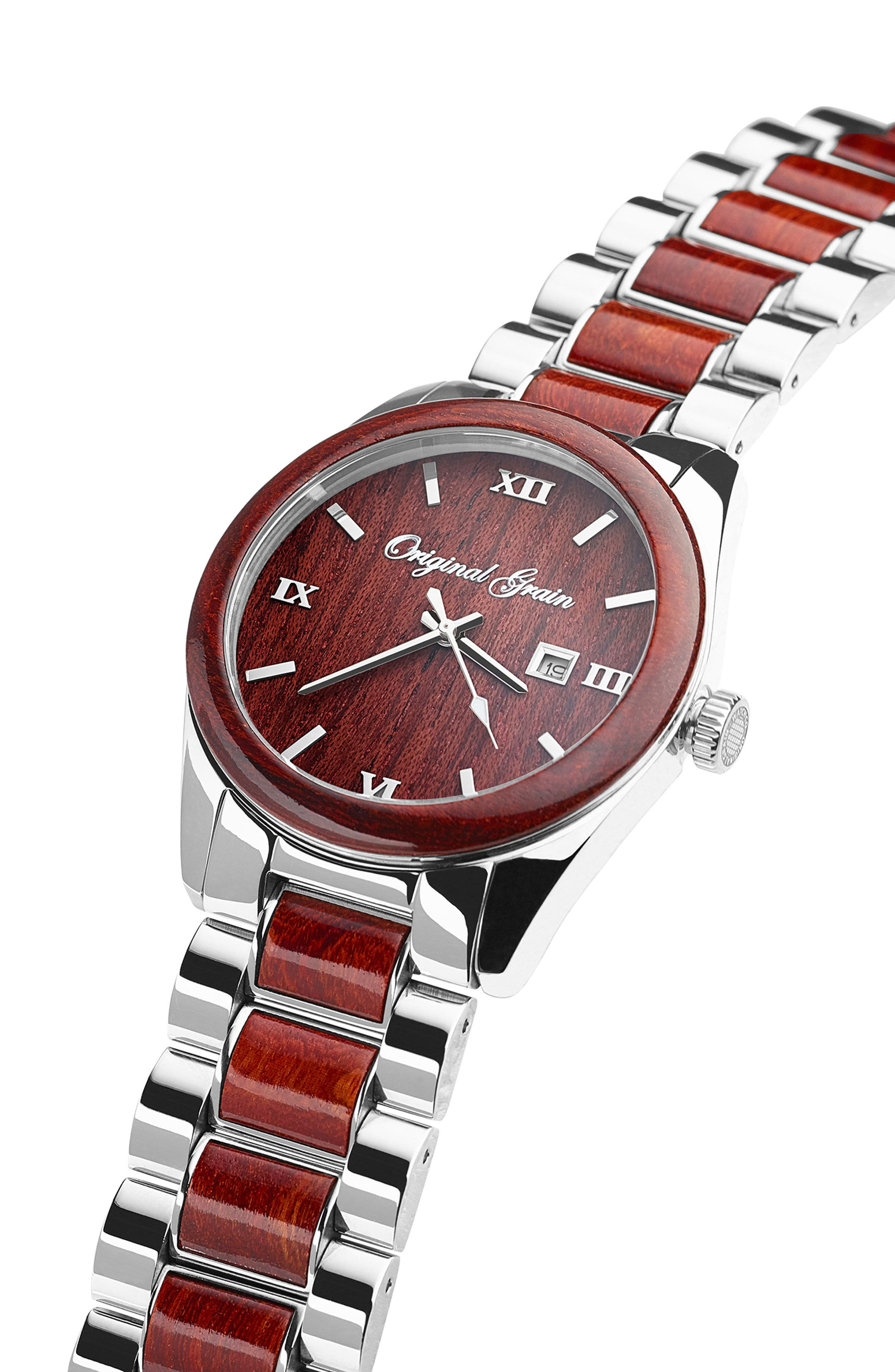 Rosewood Chrome Classic Bracelet Watch, 43mm,                             Alternate thumbnail 3, color,                             ROSEWOOD/ CHROME