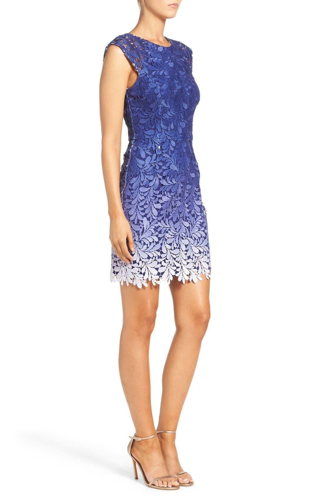 Ombré Lace Sheath Dress,                             Alternate thumbnail 6, color,                             400