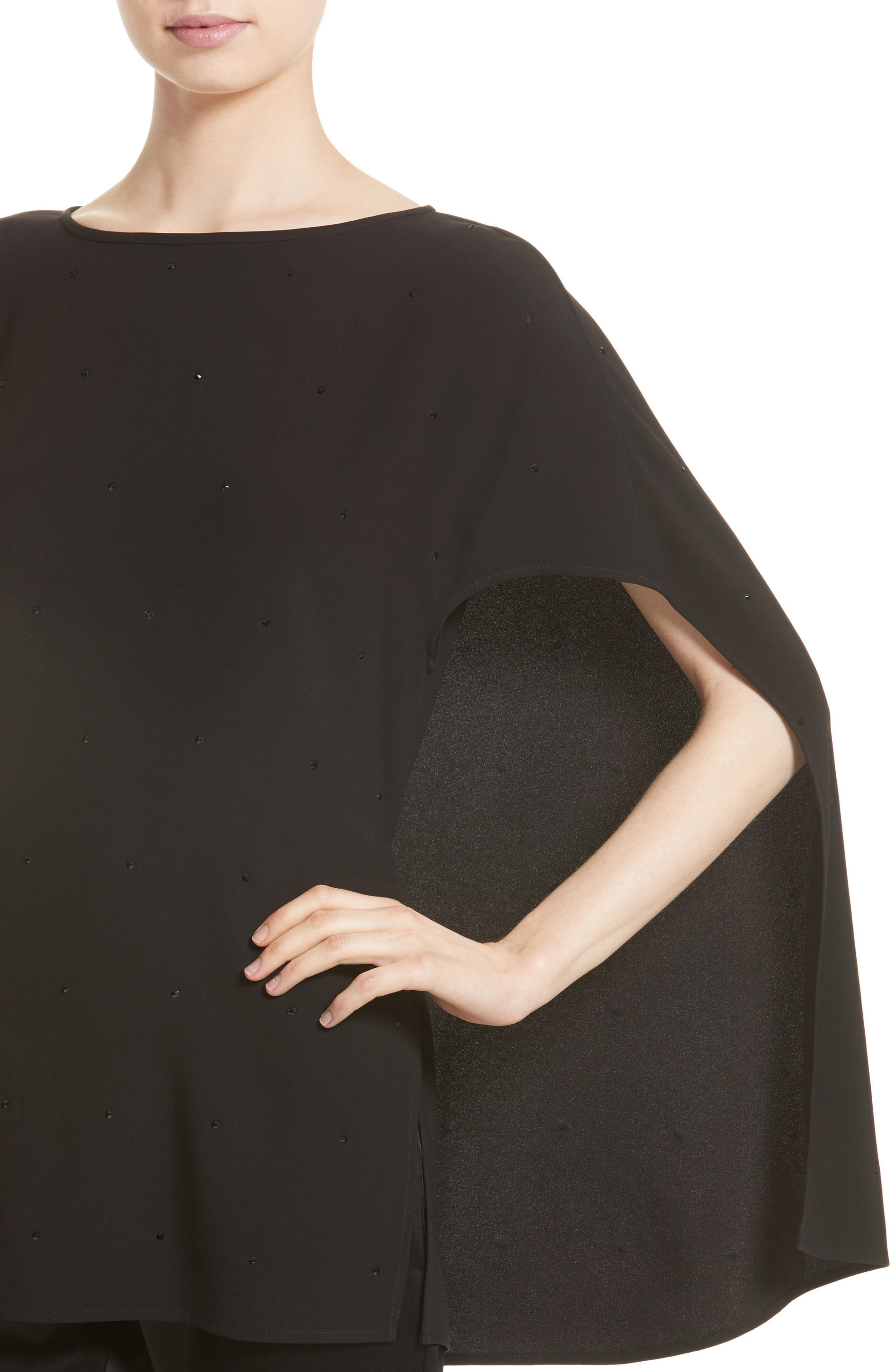 Satin-Back Crepe Cape Top,                             Alternate thumbnail 4, color,                             001