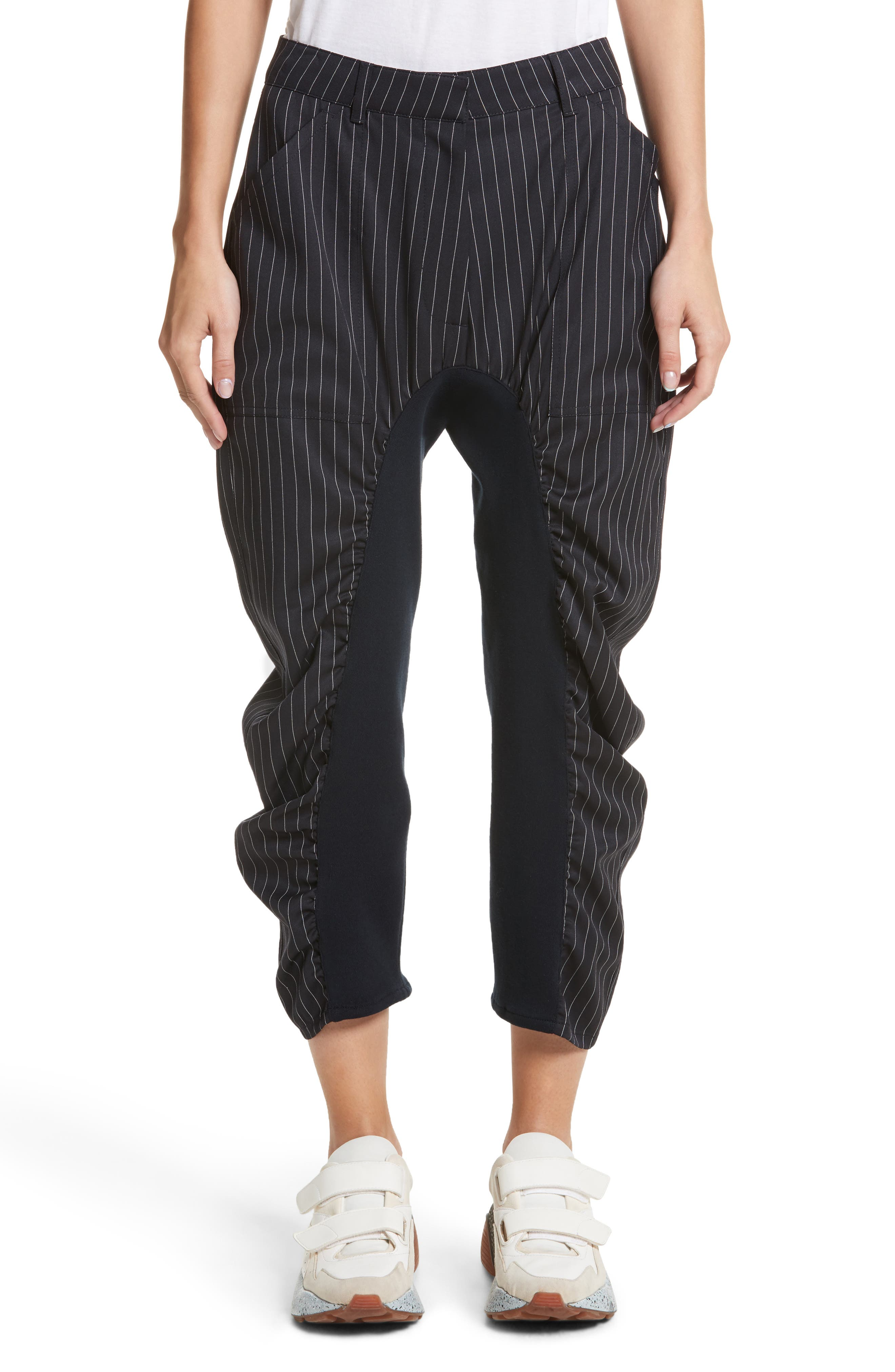 Ruched Pinstripe Trousers,                             Main thumbnail 1, color,                             010
