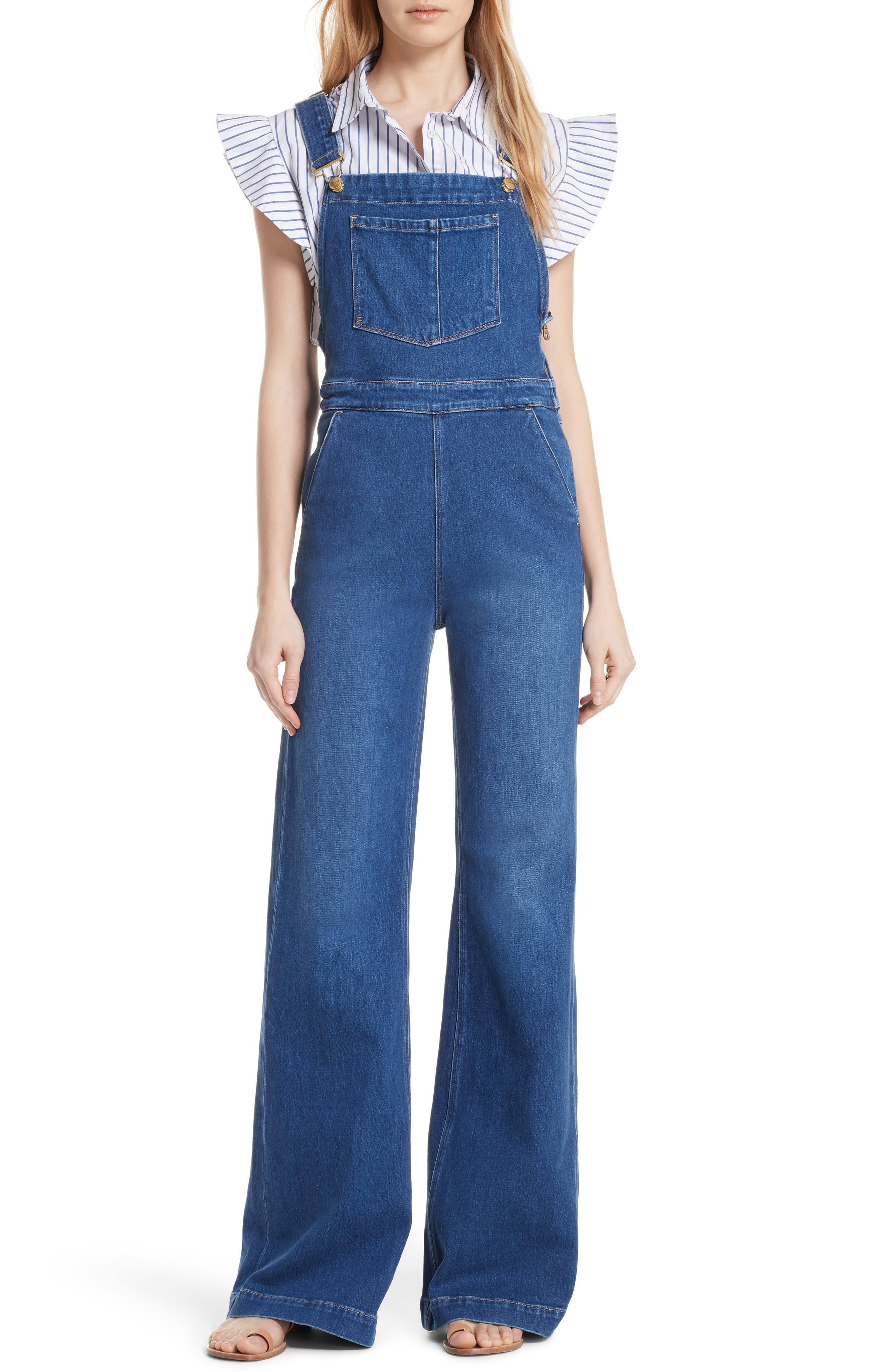 FRAME,                             Palazzo Wide Leg Denim Overalls,                             Main thumbnail 1, color,                             420