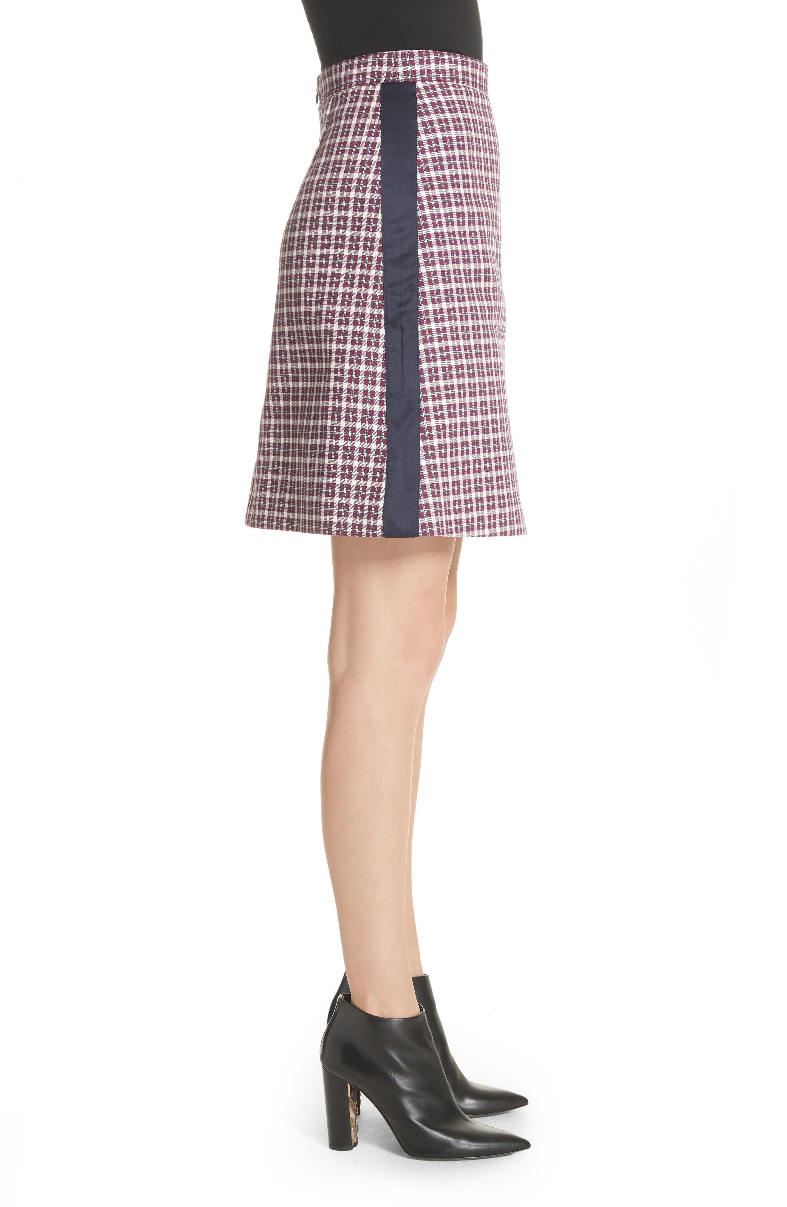Stanforth Plaid A-Line Skirt,                             Alternate thumbnail 3, color,                             BURGUNDY