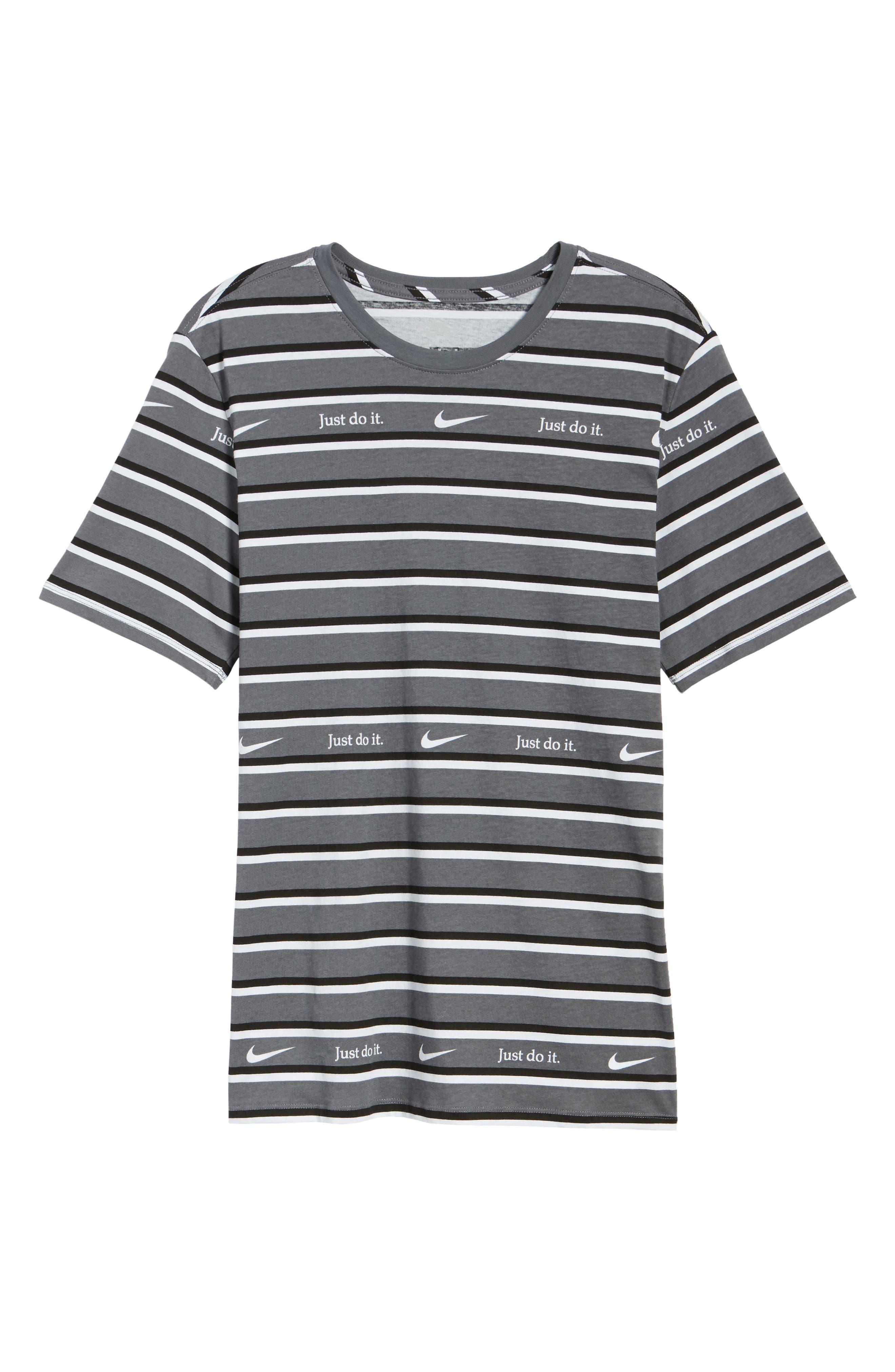 Just Do It Stripe T-Shirt,                             Alternate thumbnail 6, color,                             WHITE/ GUN SMOKE