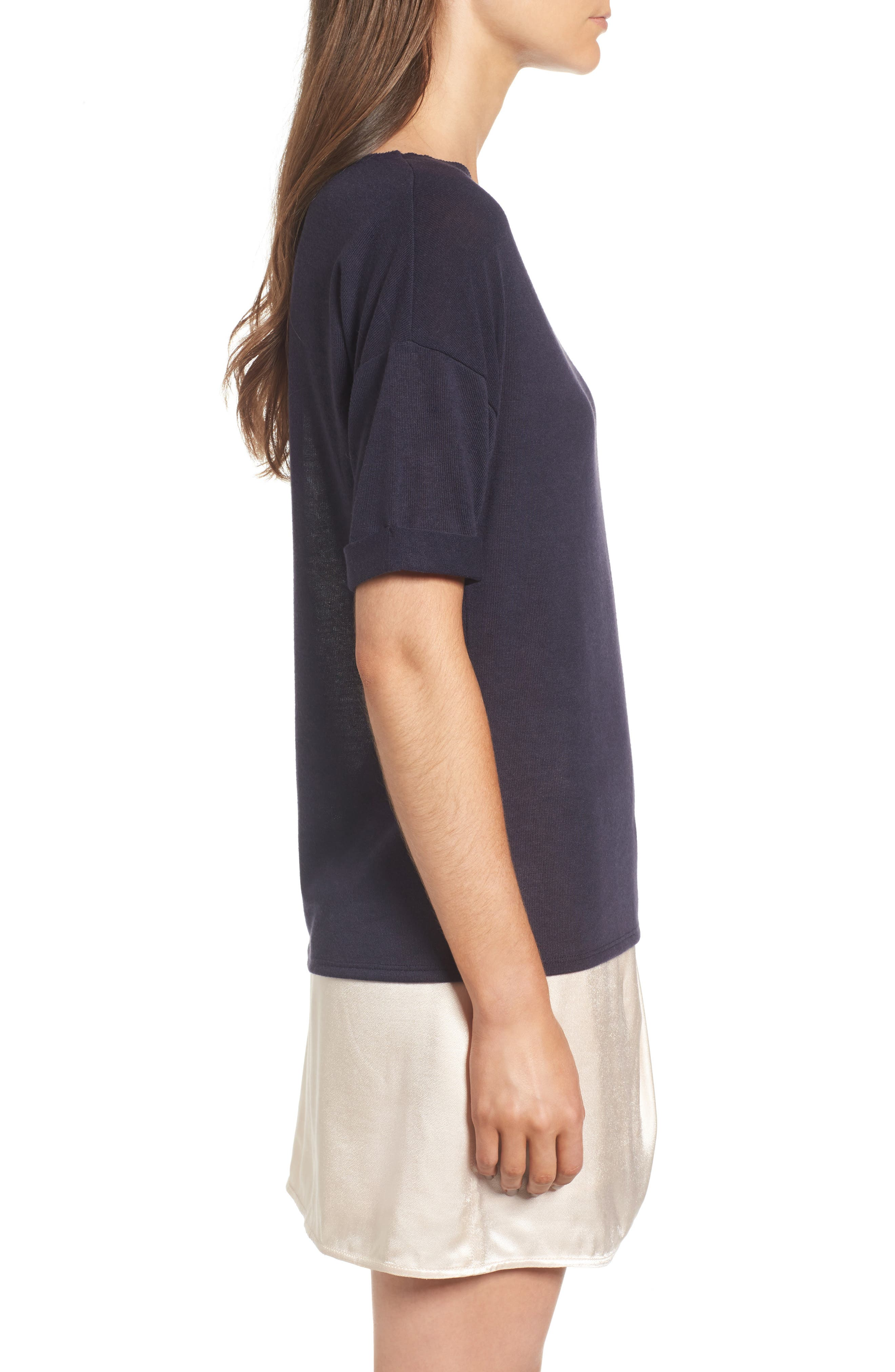 x Something Navy Easy Tee,                             Alternate thumbnail 9, color,