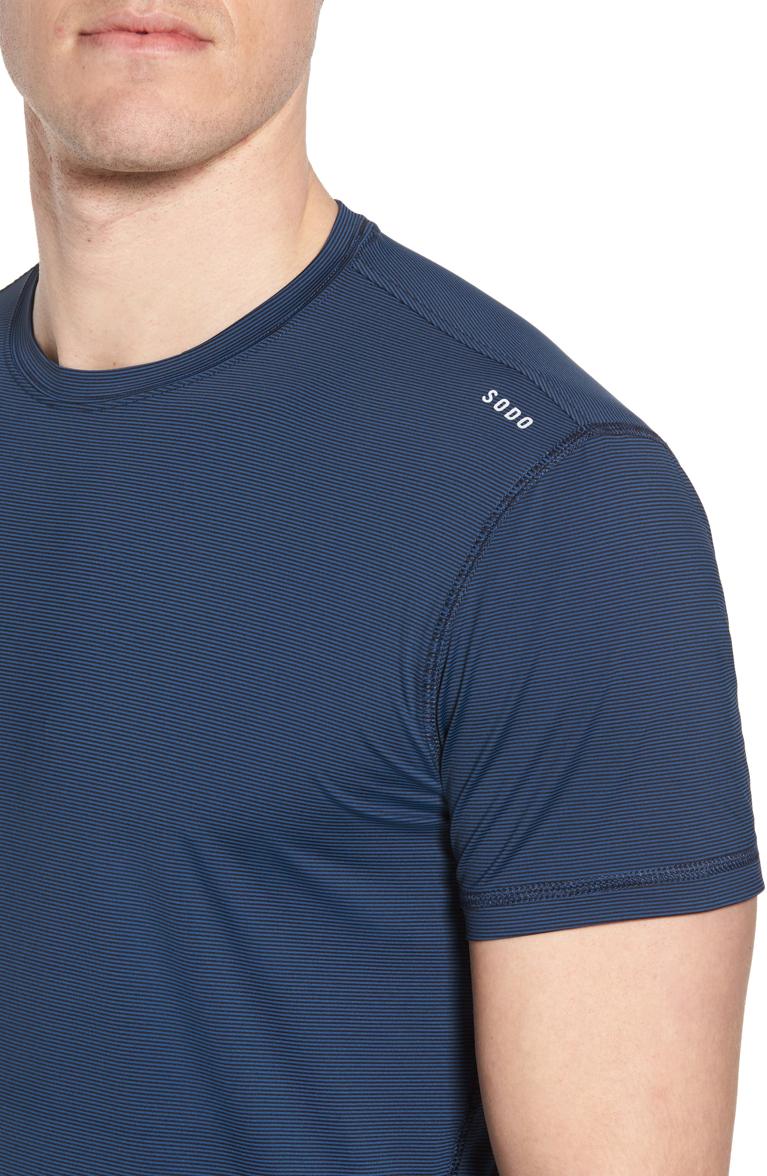 Lightweight Micro-Stripe Workout T-Shirt,                             Alternate thumbnail 4, color,                             INDIGO BLUE/ BLACK