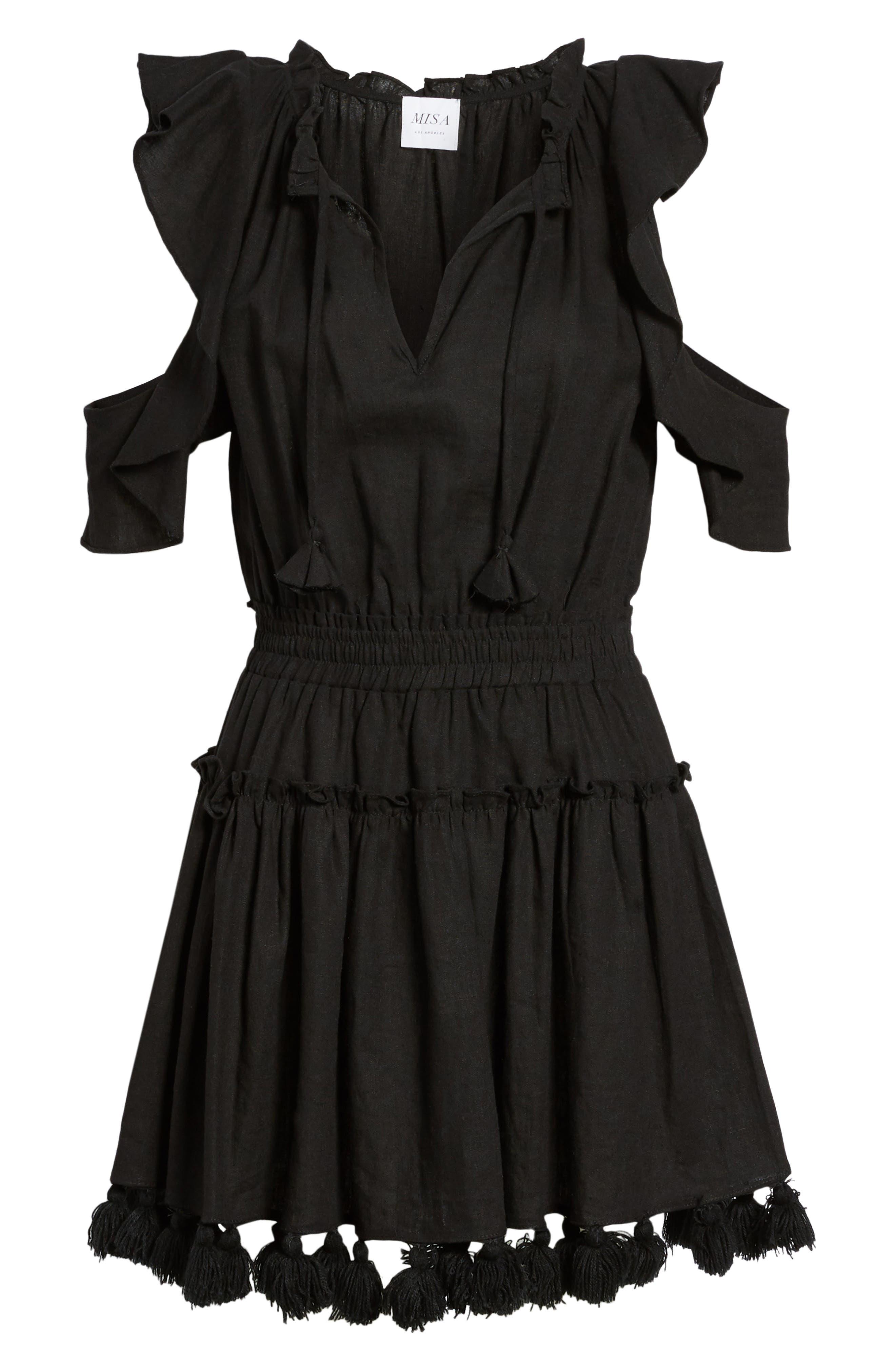 Selma Cold Shoulder Linen Blend Dress,                             Alternate thumbnail 6, color,                             001