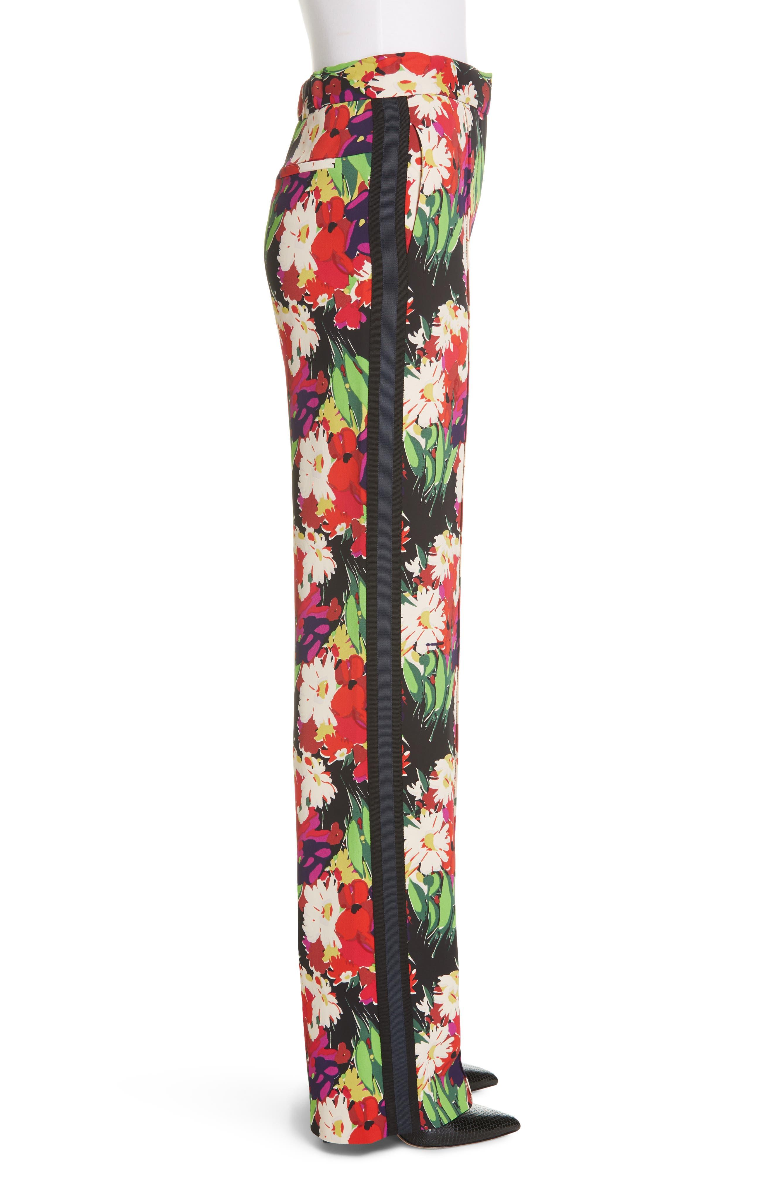 VERONICA BEARD,                             Grigore Floral Print Wide Leg Pants,                             Alternate thumbnail 3, color,                             BLACK MULTI