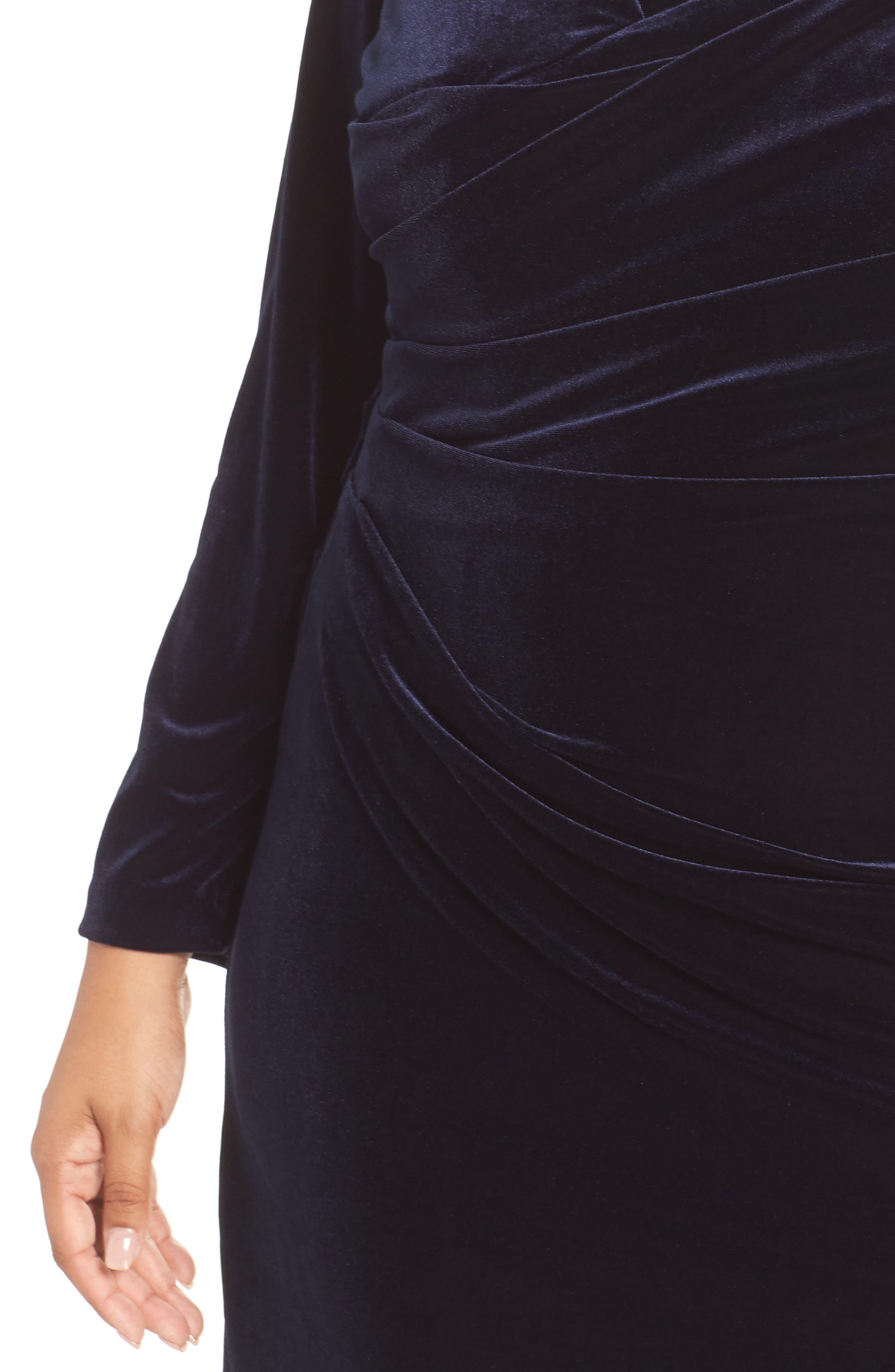 Midi Dress,                             Alternate thumbnail 4, color,                             NAVY