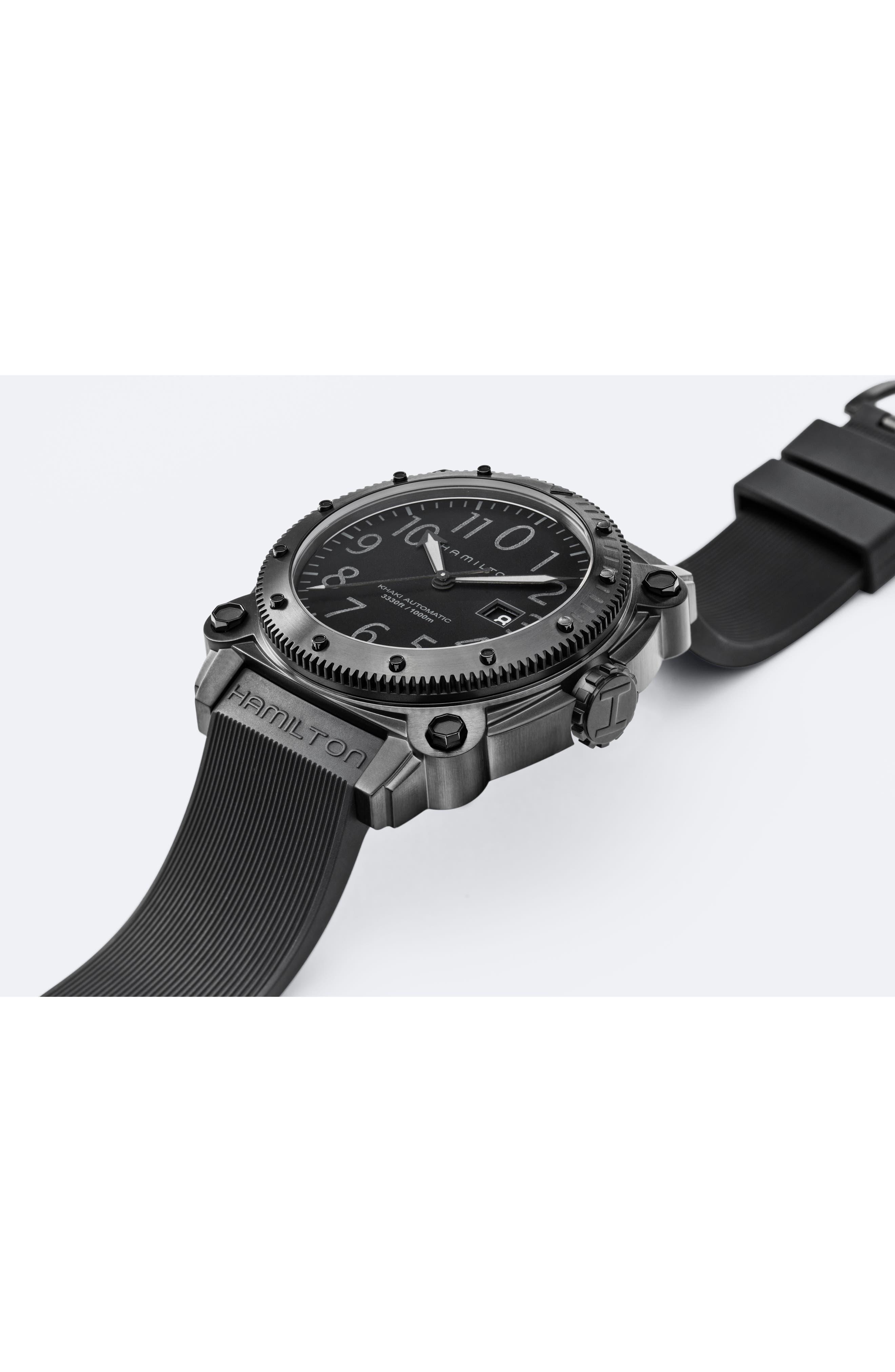 Khaki BelowZero Automatic Rubber Strap Watch, 46mm,                             Alternate thumbnail 3, color,                             BLACK