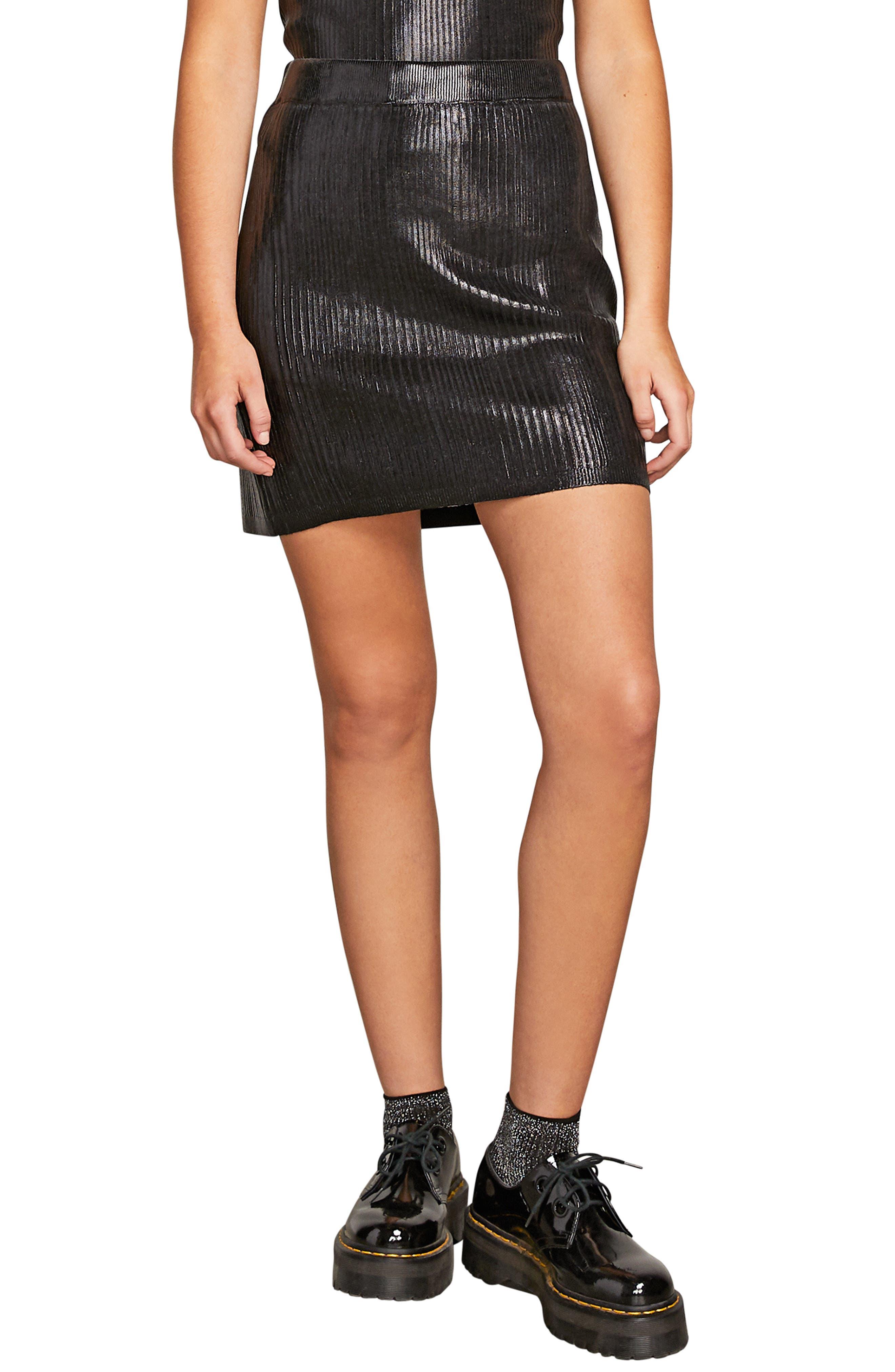 Volcom Hey Slick Ribbed Miniskirt, Black