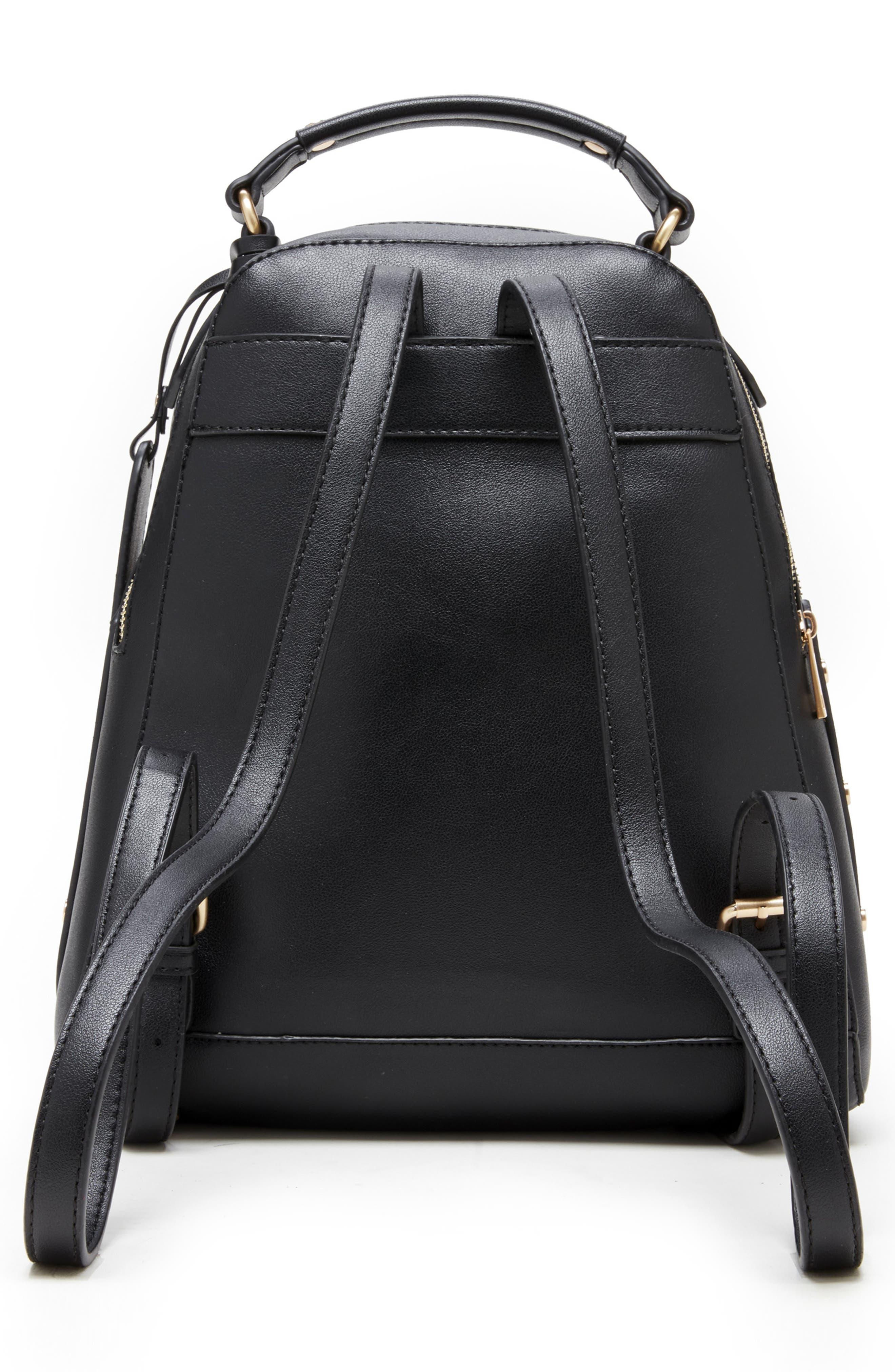 Hingi Faux Leather Backpack,                             Alternate thumbnail 2, color,                             BLACK
