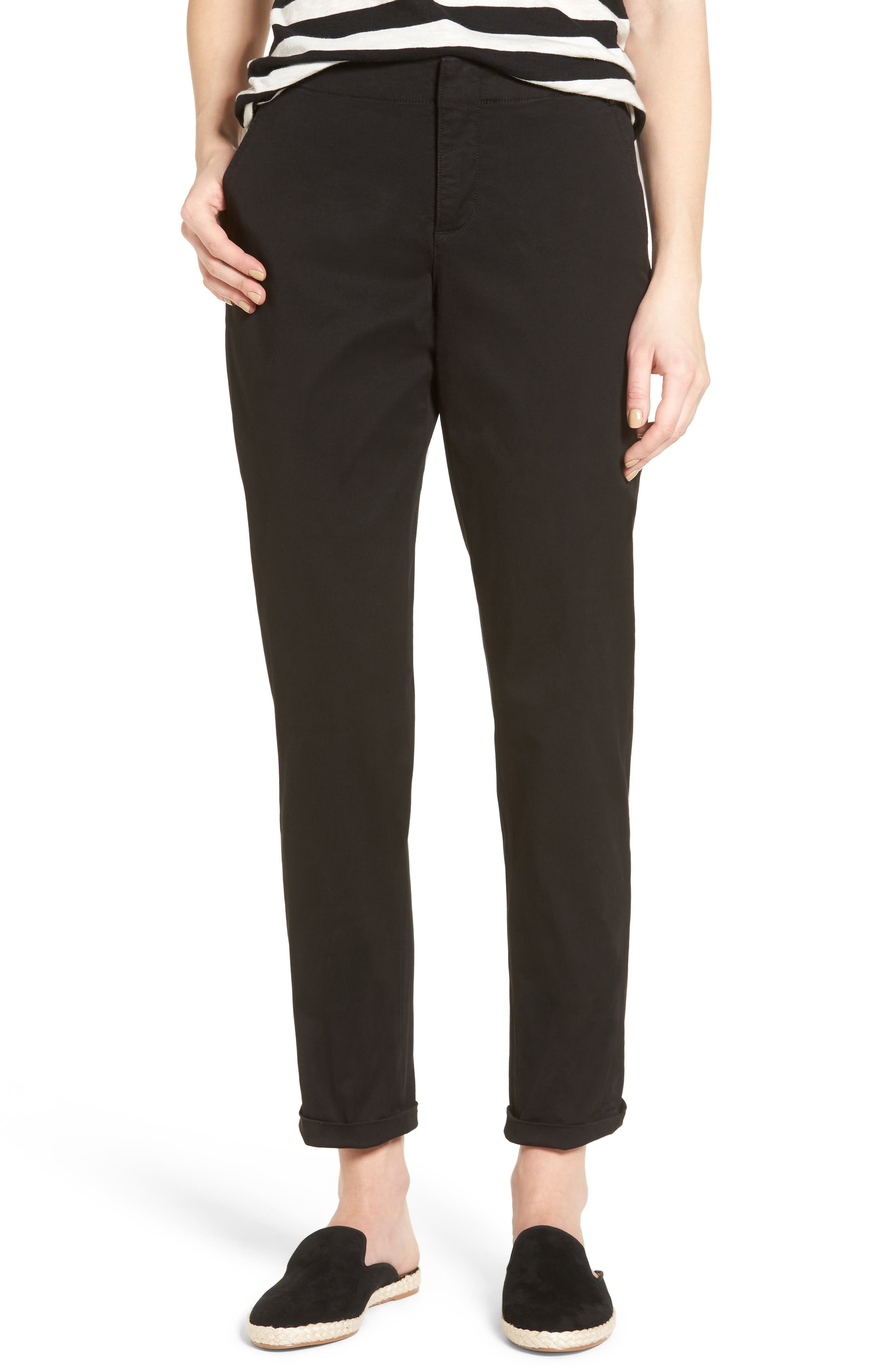 Riley Stretch Twill Relaxed Trousers,                         Main,                         color, 001