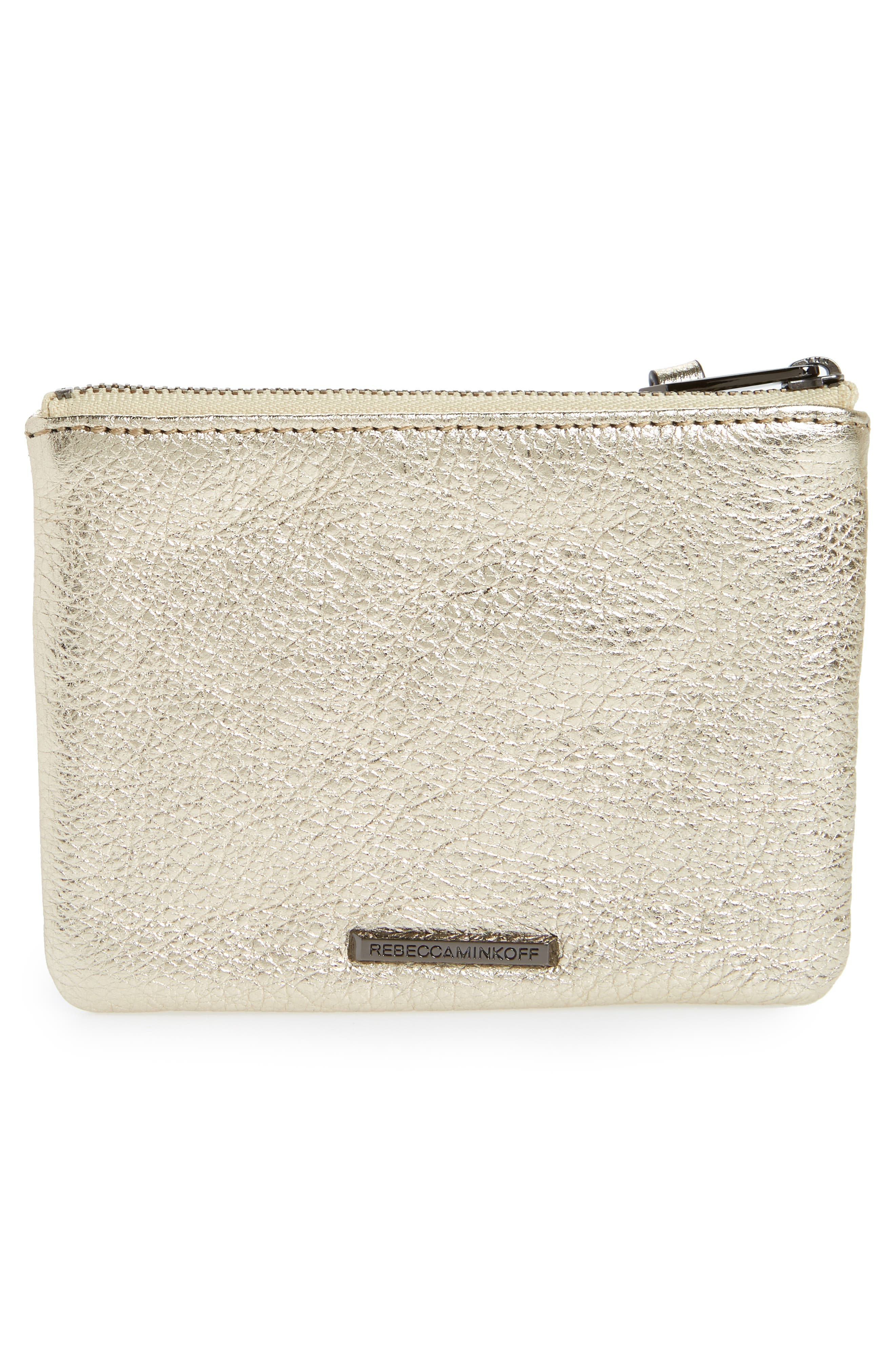 Betty Rosé All Day Leather Zip Pouch,                             Alternate thumbnail 3, color,                             710