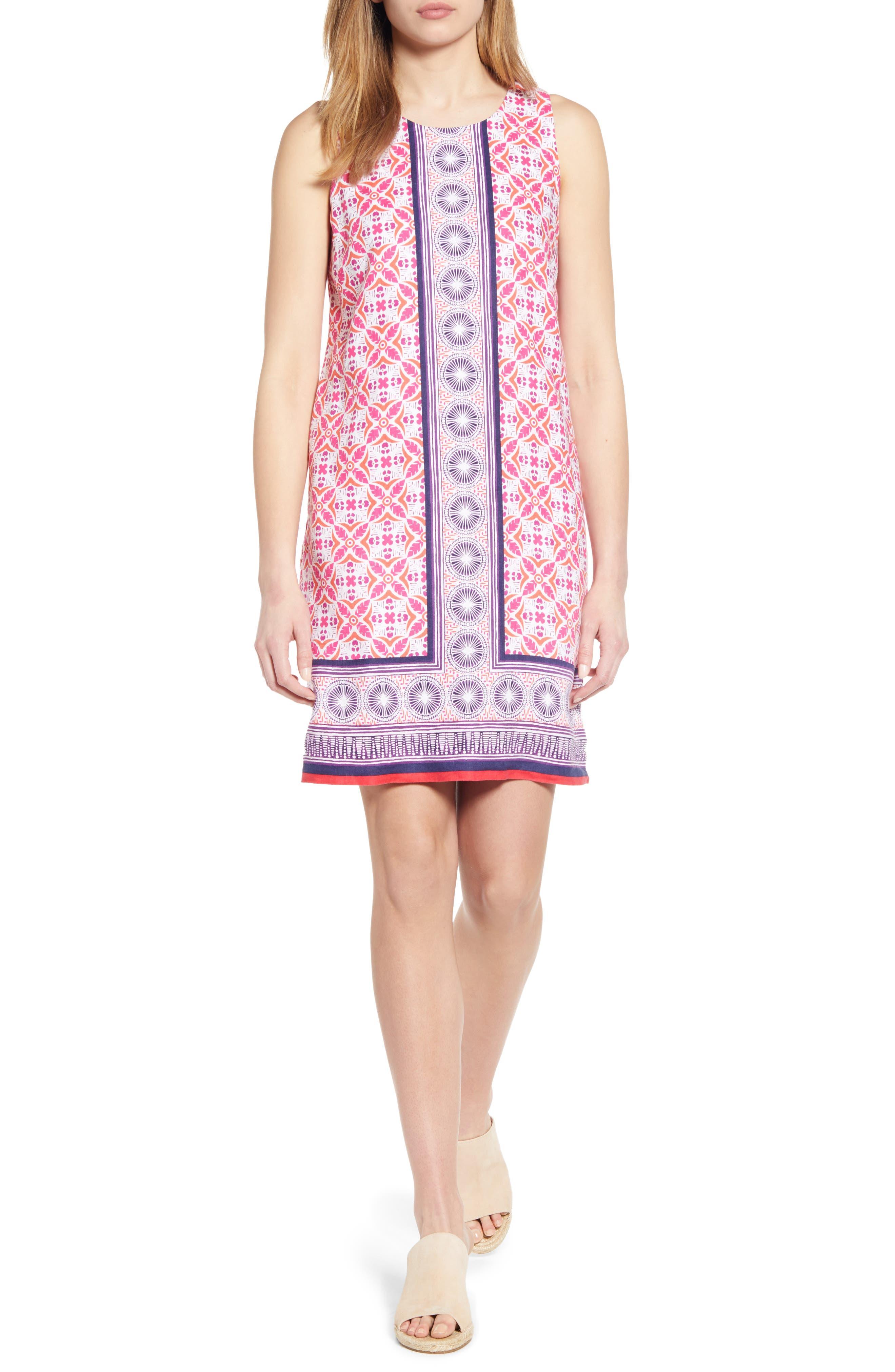 Tommy Bahama Tropical Terrazza Linen Shift Dress, Pink