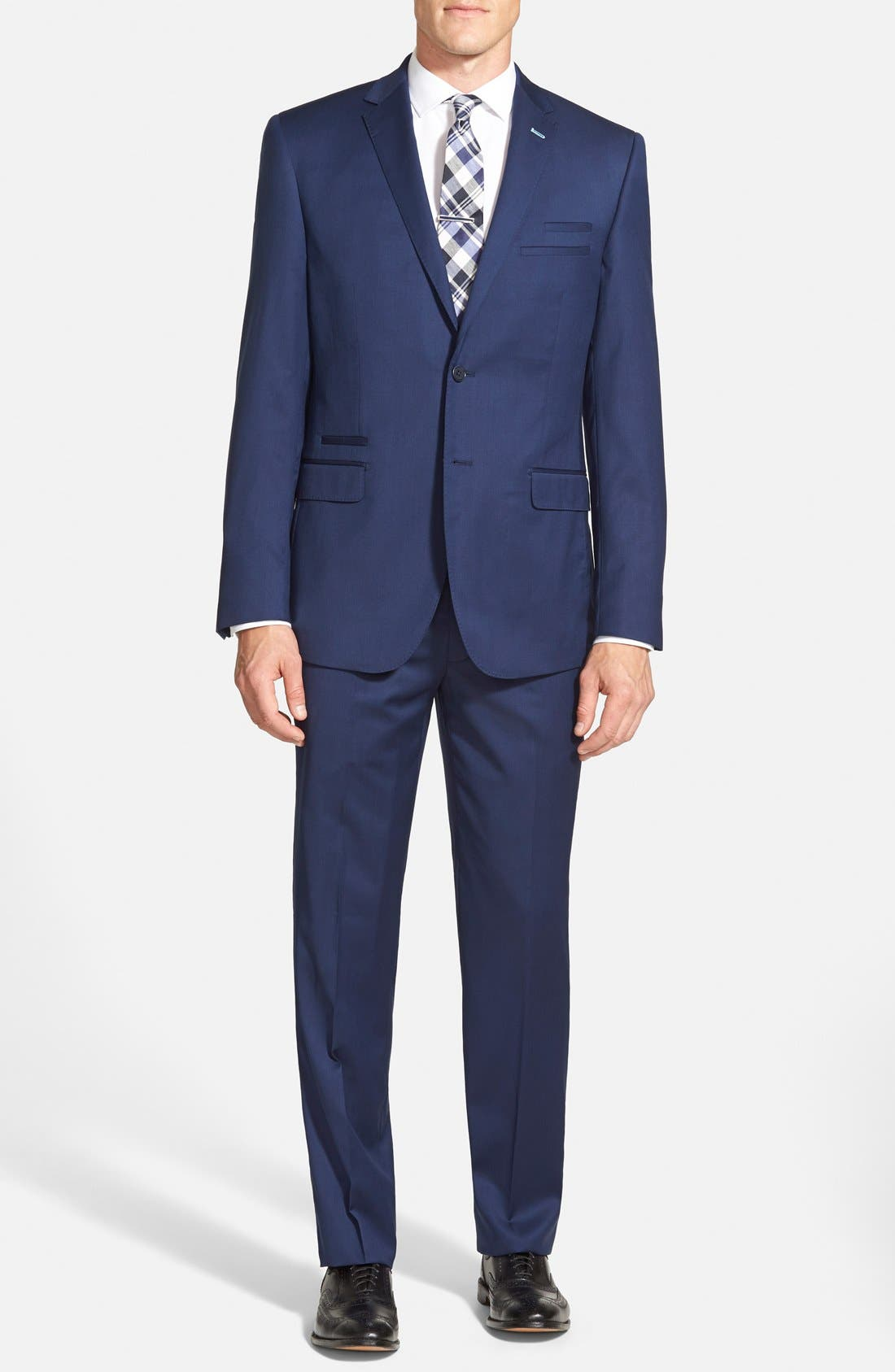 Trim Fit Solid Wool Suit, Main, color, 410