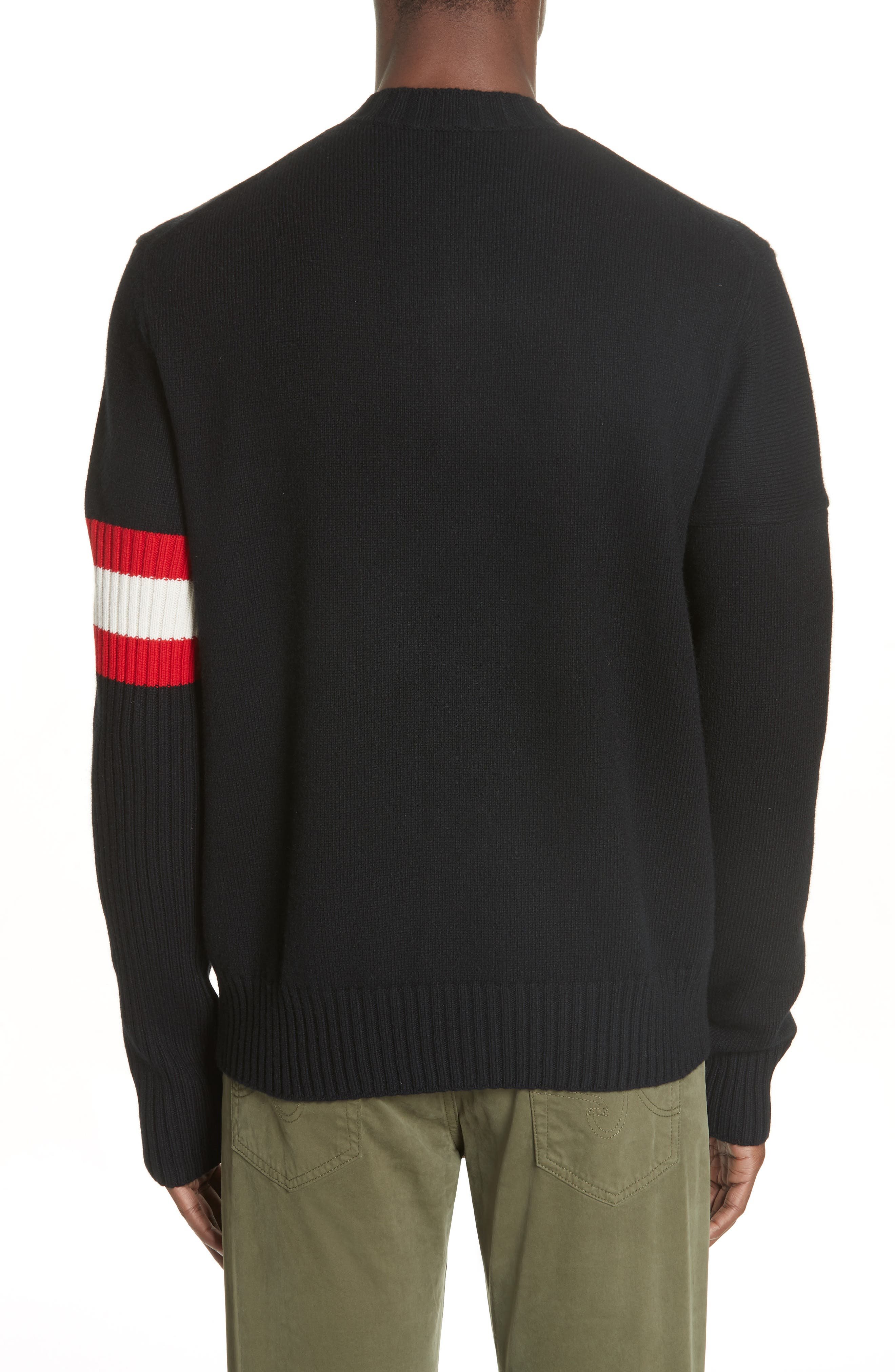 CALVIN KLEIN 205W39NYC,                             Cashmere Stripe Sleeve Sweater,                             Alternate thumbnail 2, color,                             001