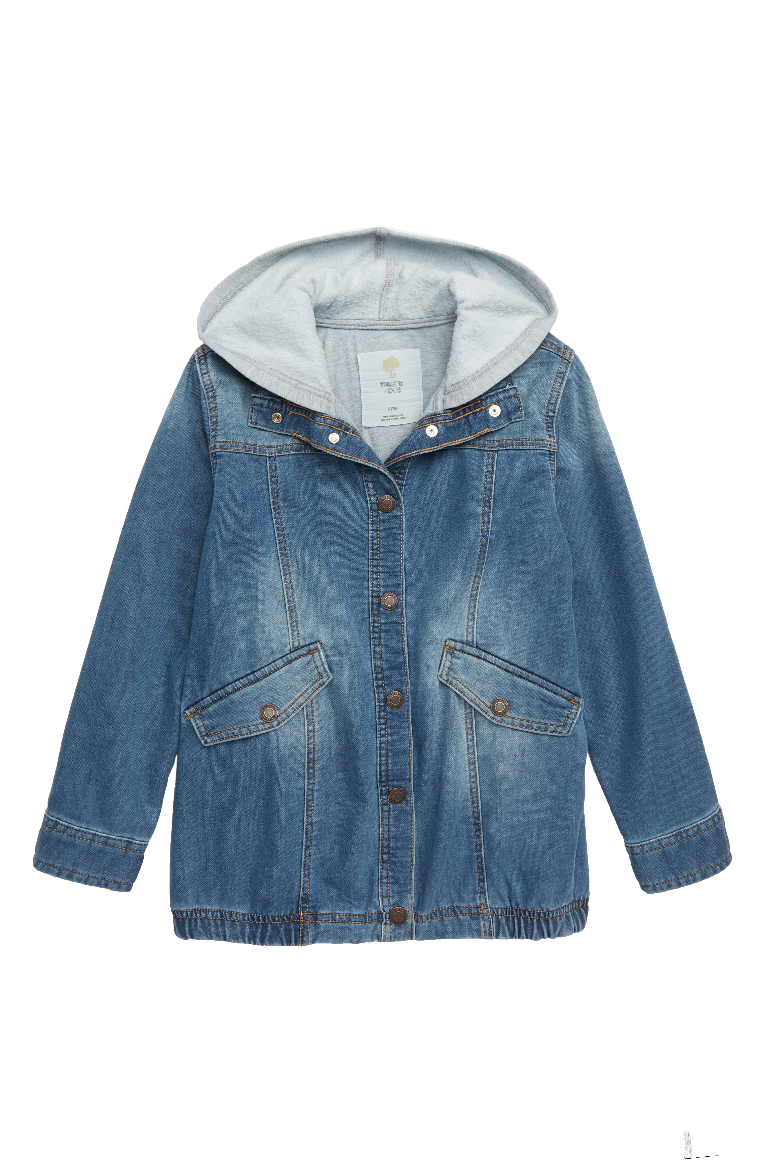 Hooded Denim Parka,                             Main thumbnail 1, color,                             GRANITE WASH