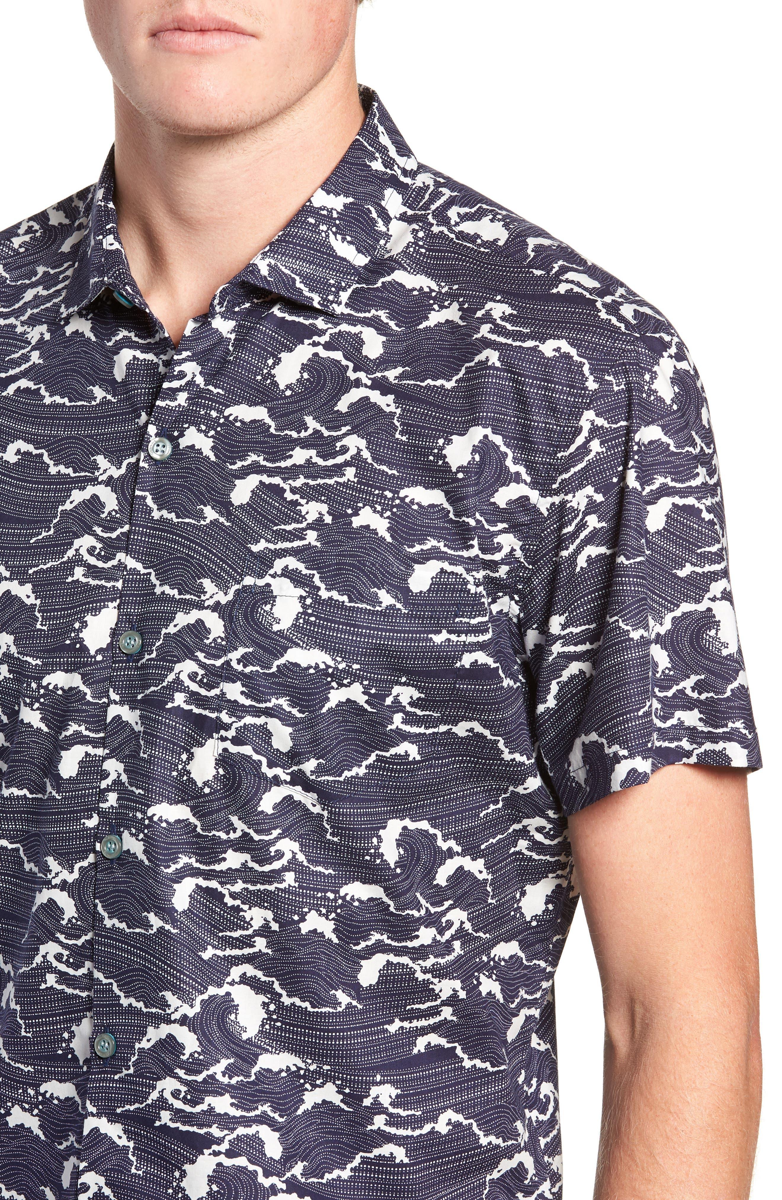 Ebb & Flow Trim Fit Camp Shirt,                             Alternate thumbnail 4, color,                             NAVY