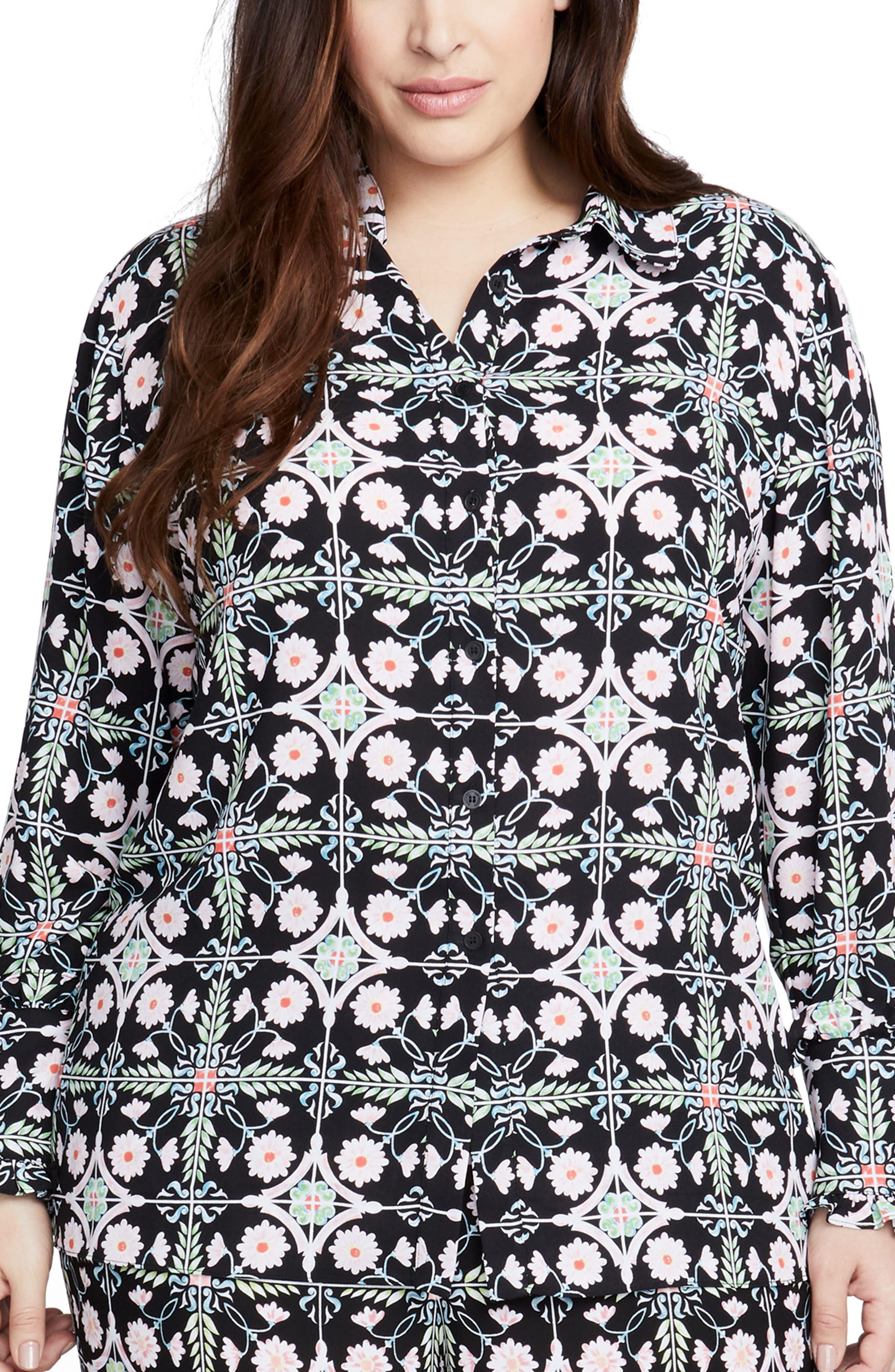 Rachel Roy Tile Print Shirt,                         Main,                         color, BLACK COMBO