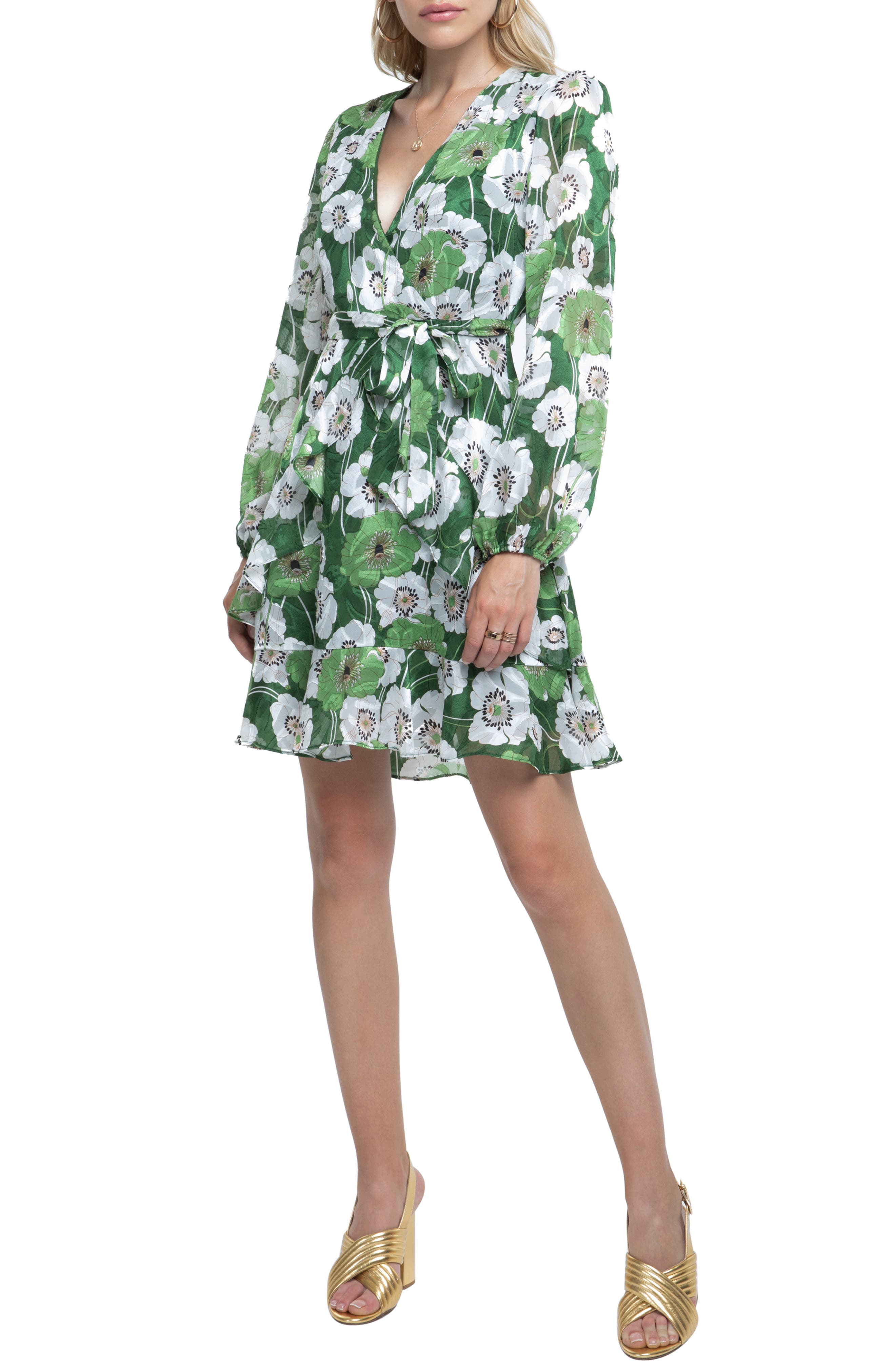 Ruffle Front Dress,                             Main thumbnail 1, color,                             GREEN FLORAL