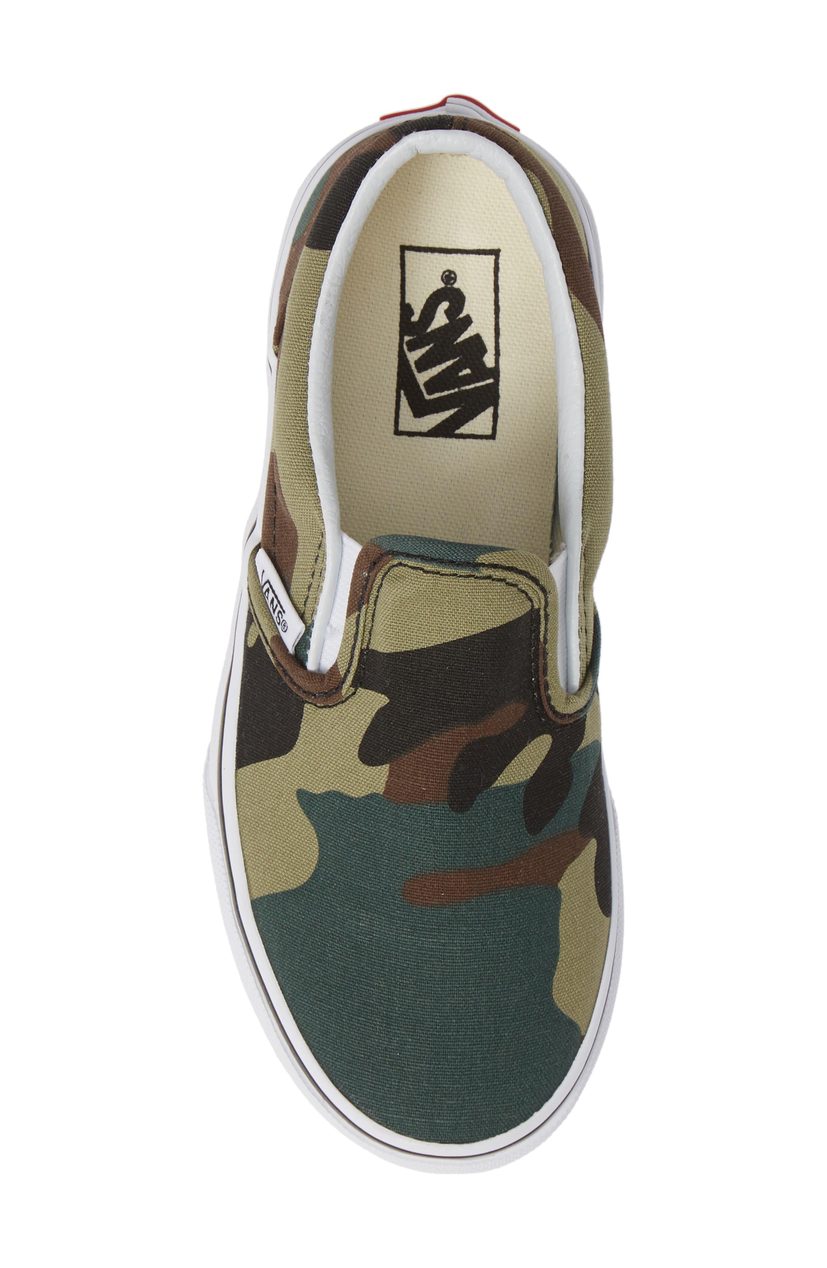 Classic Slip-On Sneaker,                             Alternate thumbnail 5, color,                             WOODLAND CAMO BLACK/ WOODLAND