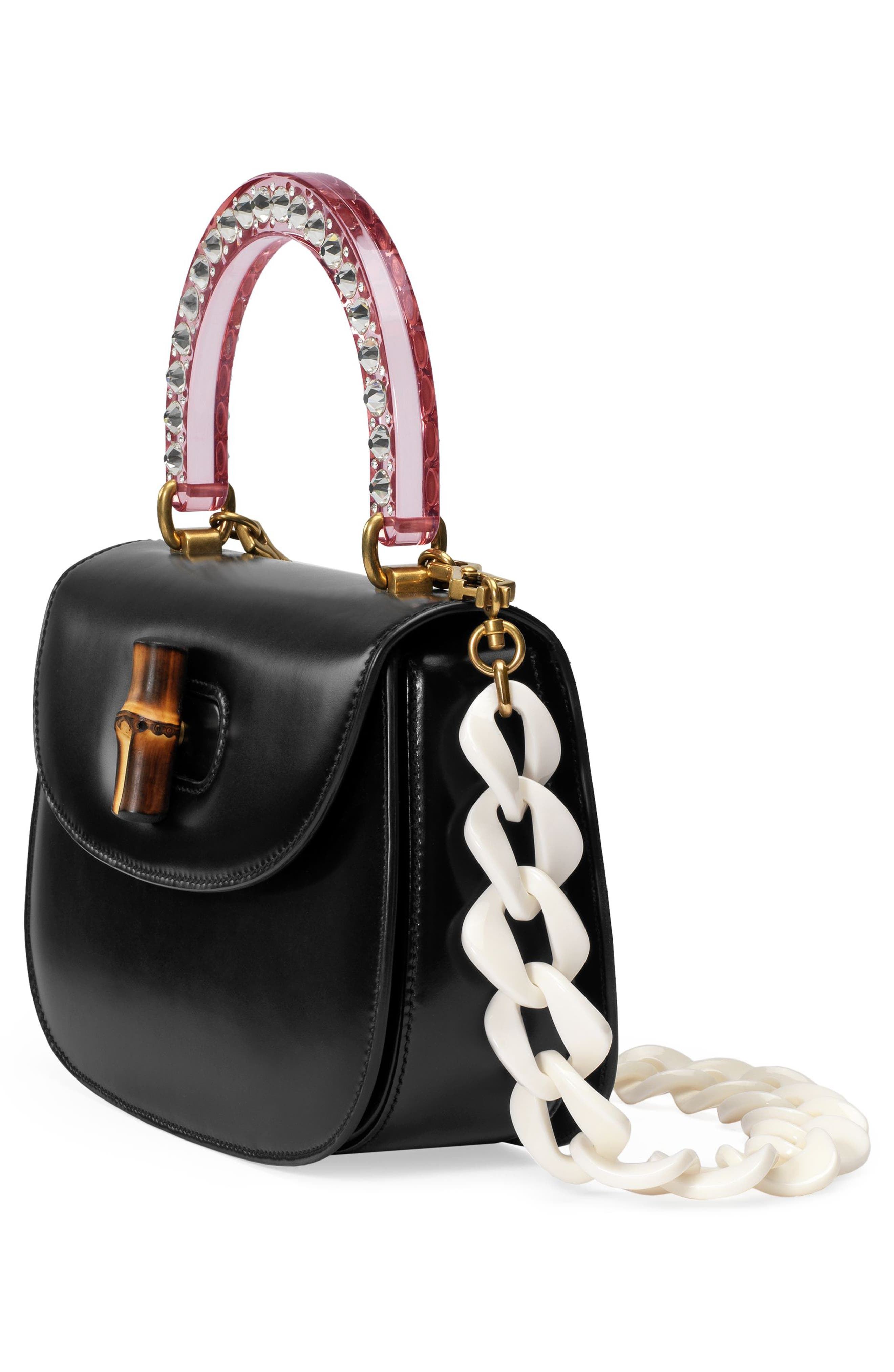 Medium Classic 2 Top Handle Shoulder Bag,                             Alternate thumbnail 5, color,                             NERO/ ROSE CRYSTAL